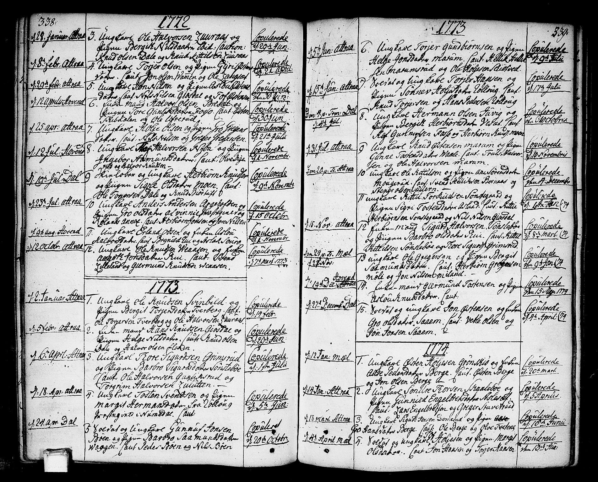 SAKO, Tinn kirkebøker, F/Fa/L0002: Ministerialbok nr. I 2, 1757-1810, s. 338-339