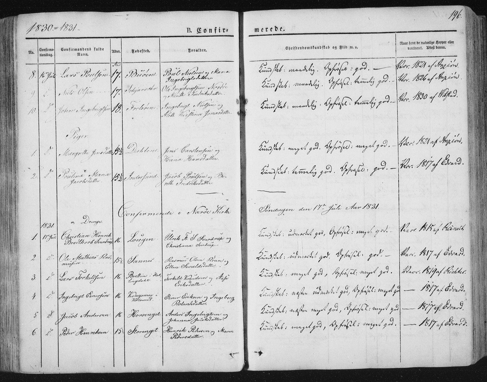 SAT, Ministerialprotokoller, klokkerbøker og fødselsregistre - Nord-Trøndelag, 784/L0669: Ministerialbok nr. 784A04, 1829-1859, s. 196
