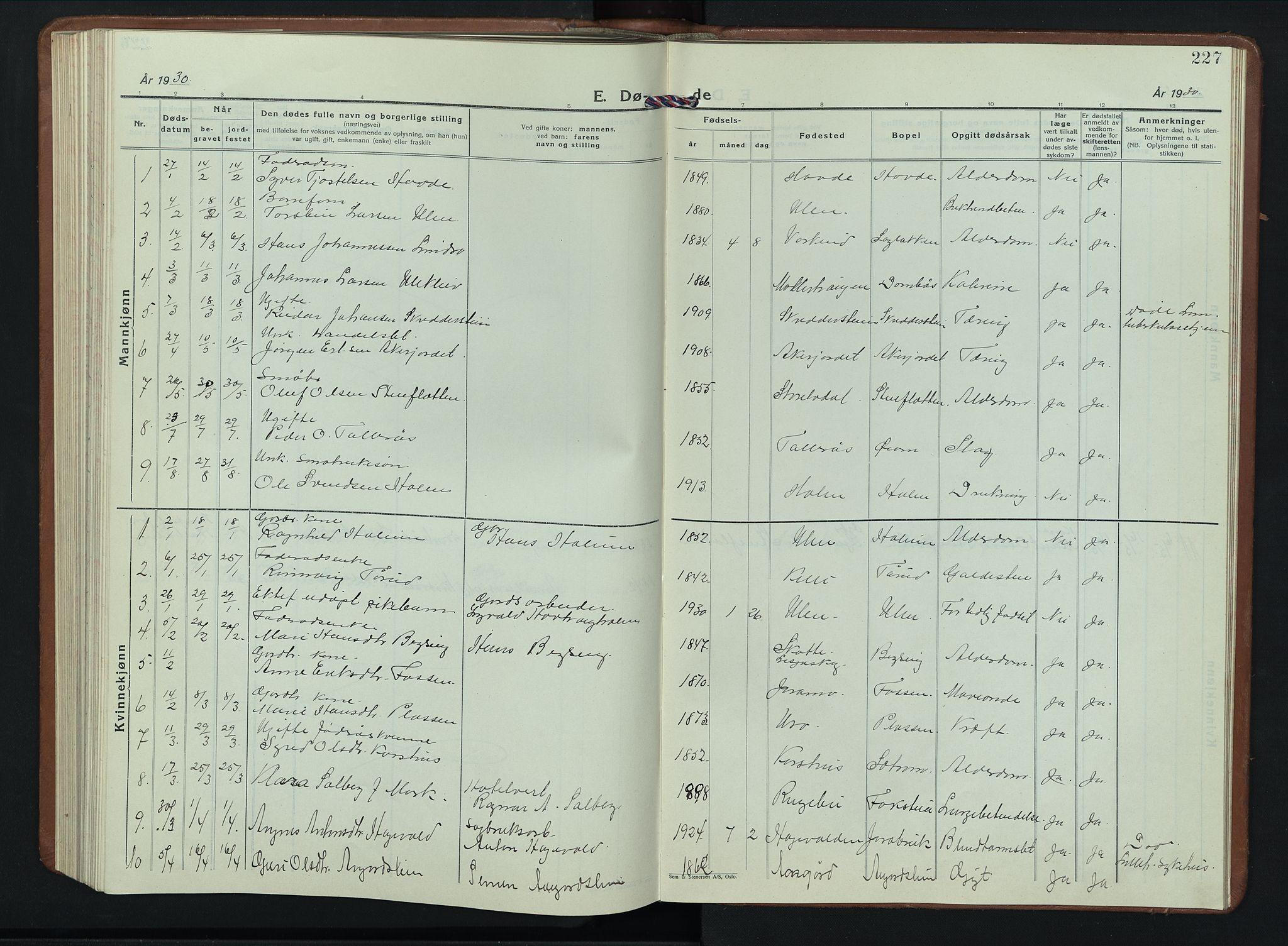 SAH, Dovre prestekontor, Klokkerbok nr. 4, 1926-1949, s. 227