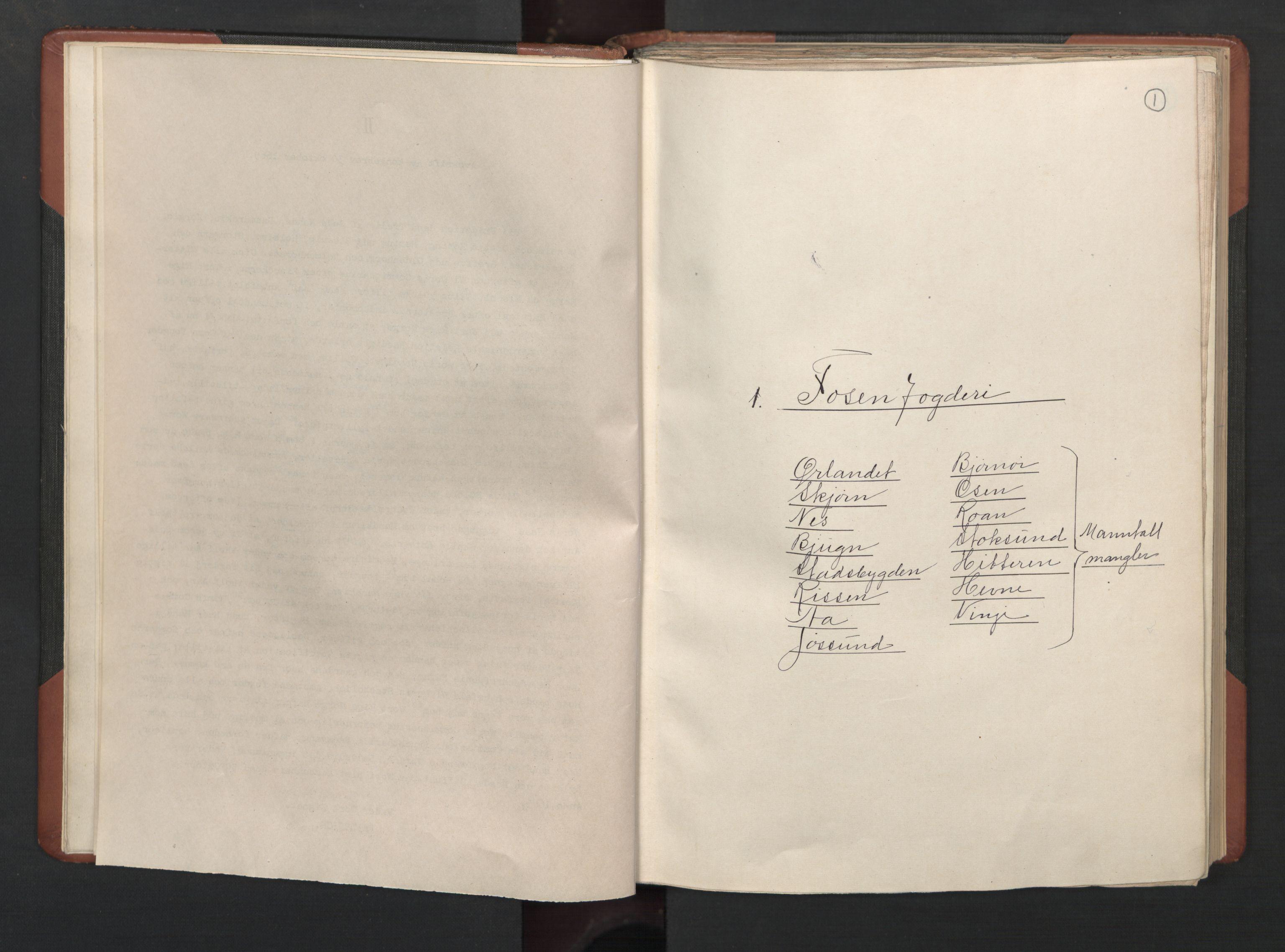 RA, Fogdenes og sorenskrivernes manntall 1664-1666, nr. 19: Fosen fogderi, Inderøy fogderi, Selbu fogderi, Namdal fogderi og Stjørdal fogderi, 1664-1665, s. 1