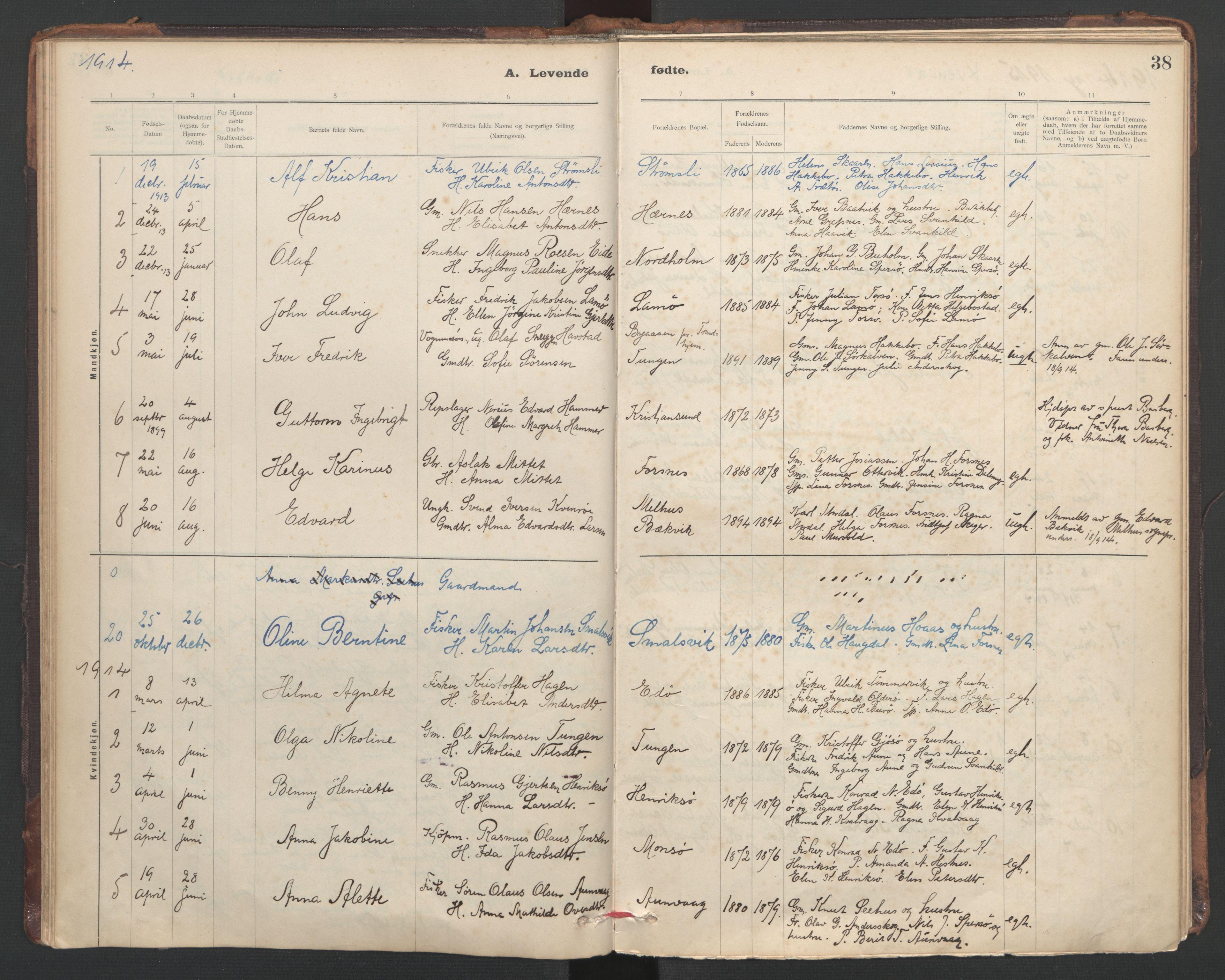 SAT, Ministerialprotokoller, klokkerbøker og fødselsregistre - Sør-Trøndelag, 635/L0552: Ministerialbok nr. 635A02, 1899-1919, s. 38