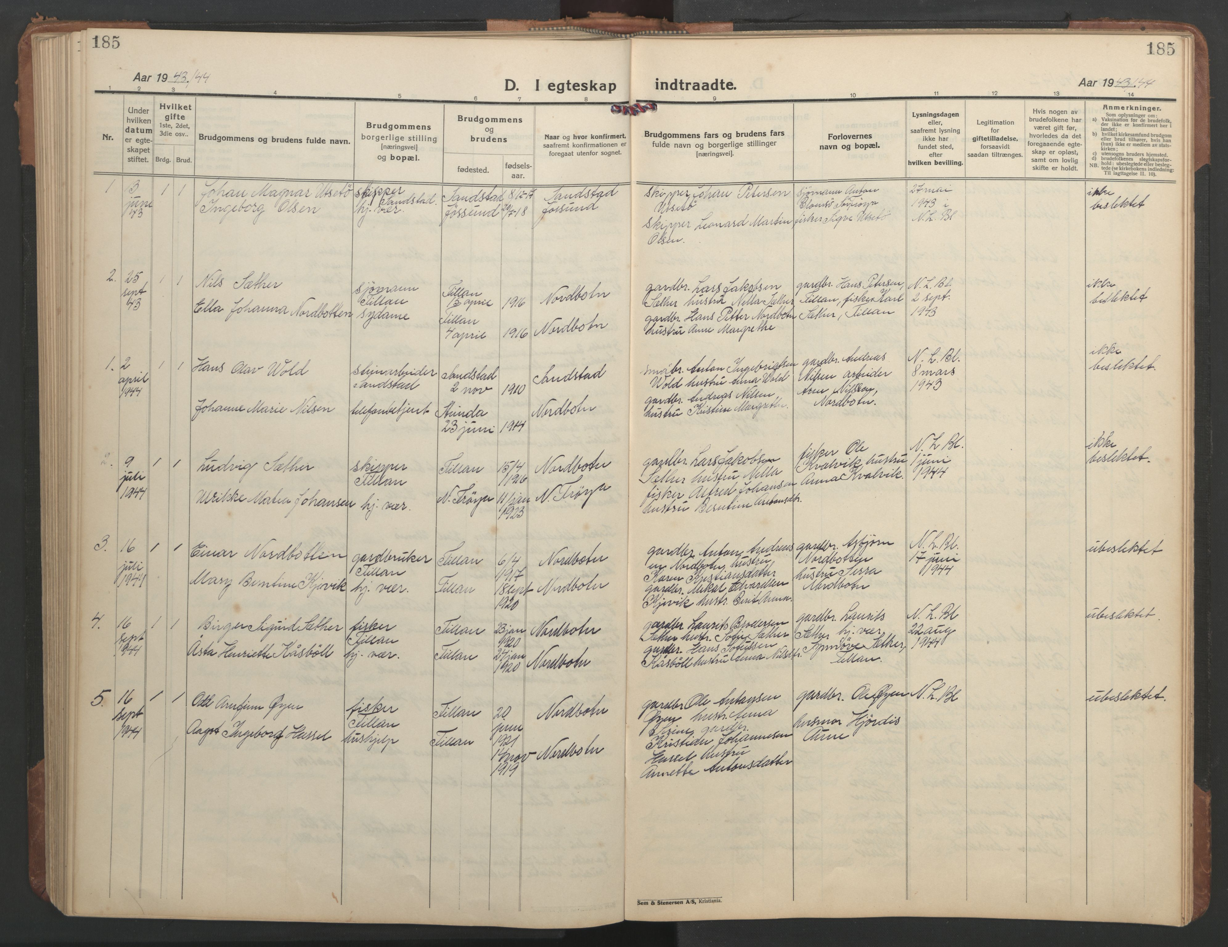 SAT, Ministerialprotokoller, klokkerbøker og fødselsregistre - Sør-Trøndelag, 638/L0569: Klokkerbok nr. 638C01, 1923-1961, s. 185