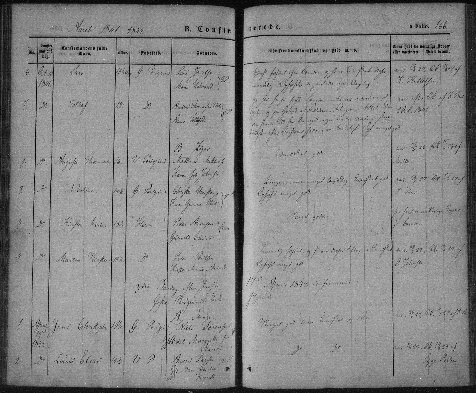 SAKO, Porsgrunn kirkebøker , F/Fa/L0006: Ministerialbok nr. 6, 1841-1857, s. 166