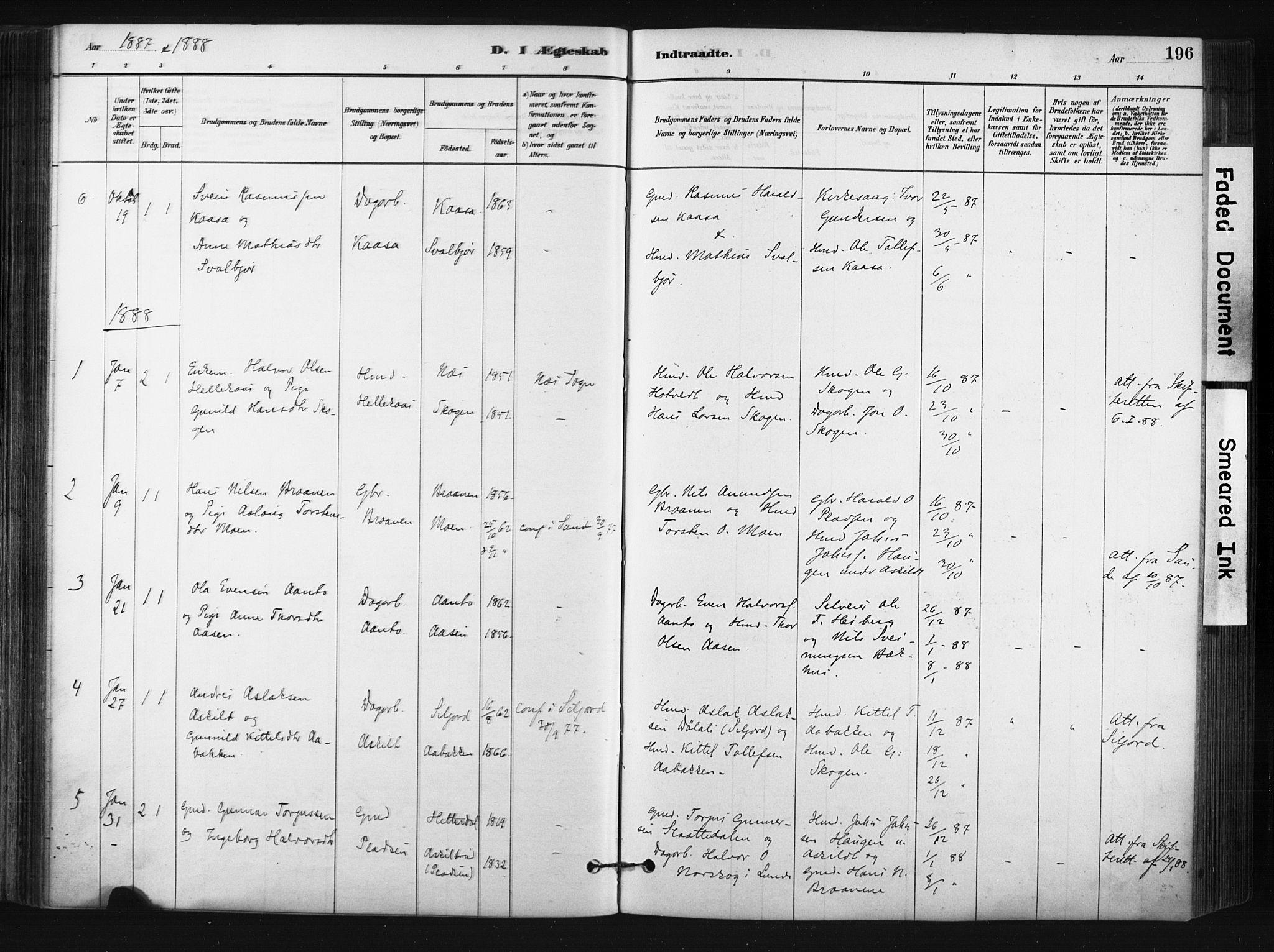 SAKO, Bø kirkebøker, F/Fa/L0010: Ministerialbok nr. 10, 1880-1892, s. 196