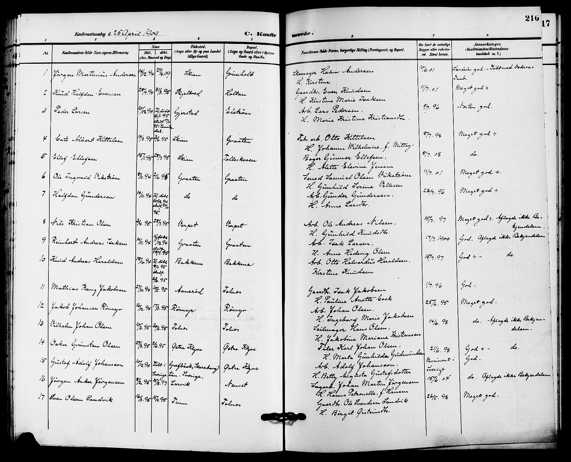 SAKO, Solum kirkebøker, G/Ga/L0008: Klokkerbok nr. I 8, 1898-1909, s. 216