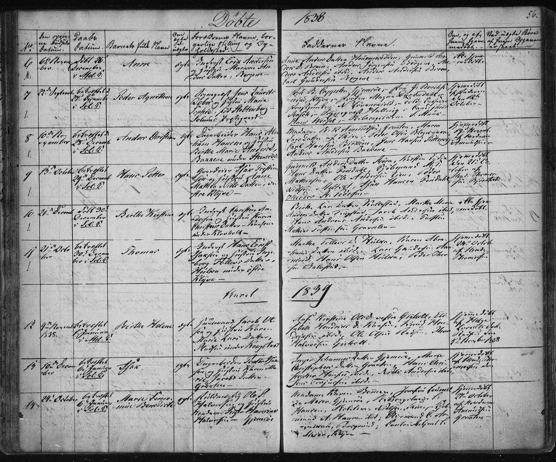 SAKO, Solum kirkebøker, F/Fa/L0005: Ministerialbok nr. I 5, 1833-1843, s. 56