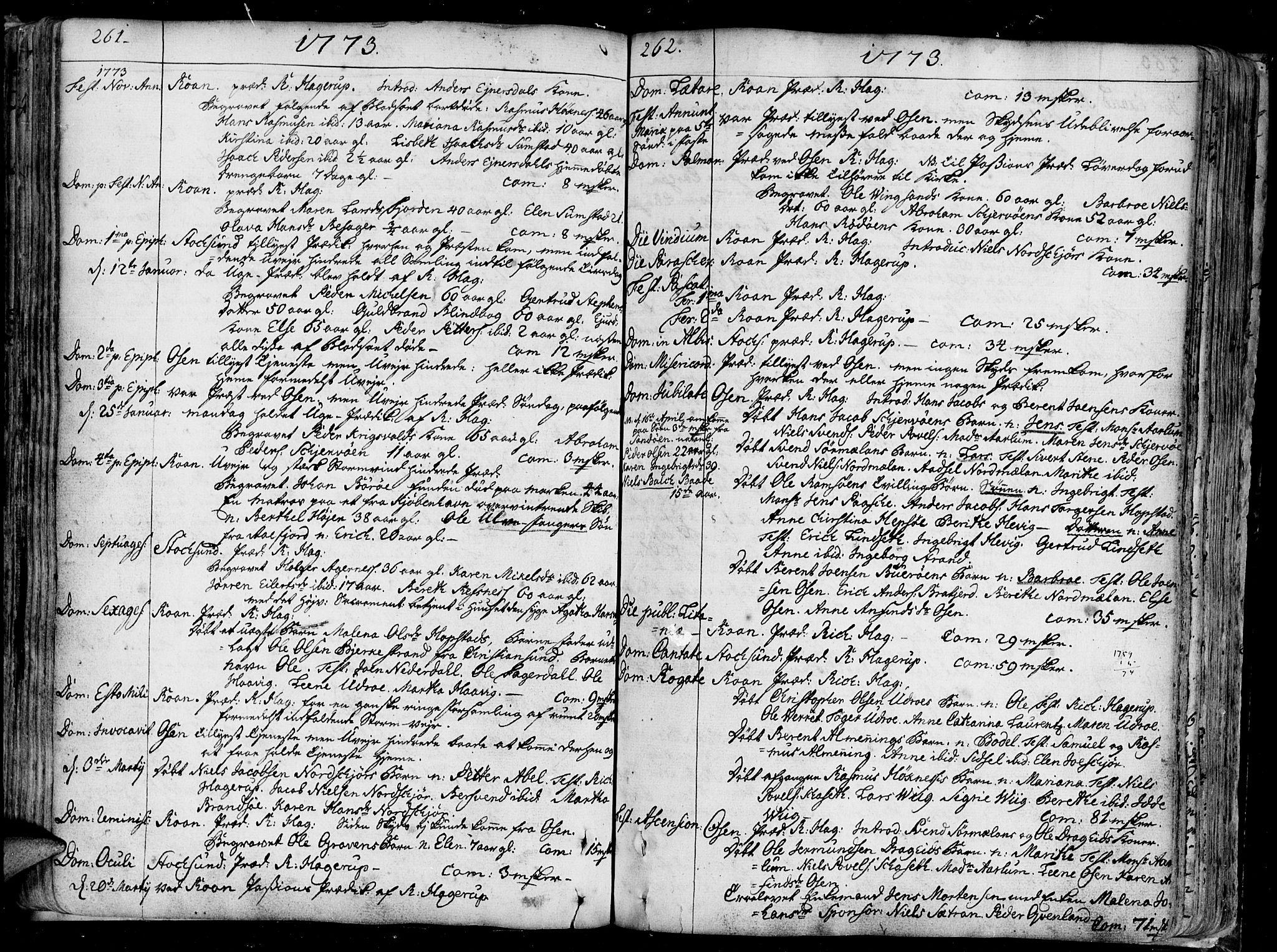 SAT, Ministerialprotokoller, klokkerbøker og fødselsregistre - Sør-Trøndelag, 657/L0700: Ministerialbok nr. 657A01, 1732-1801, s. 261-262