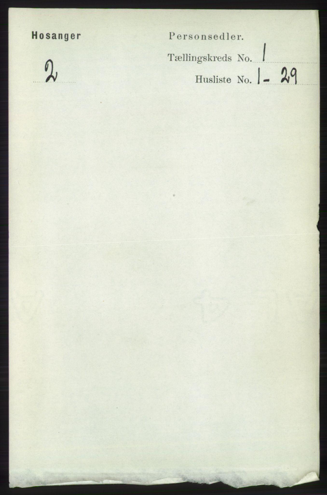 RA, Folketelling 1891 for 1253 Hosanger herred, 1891, s. 94