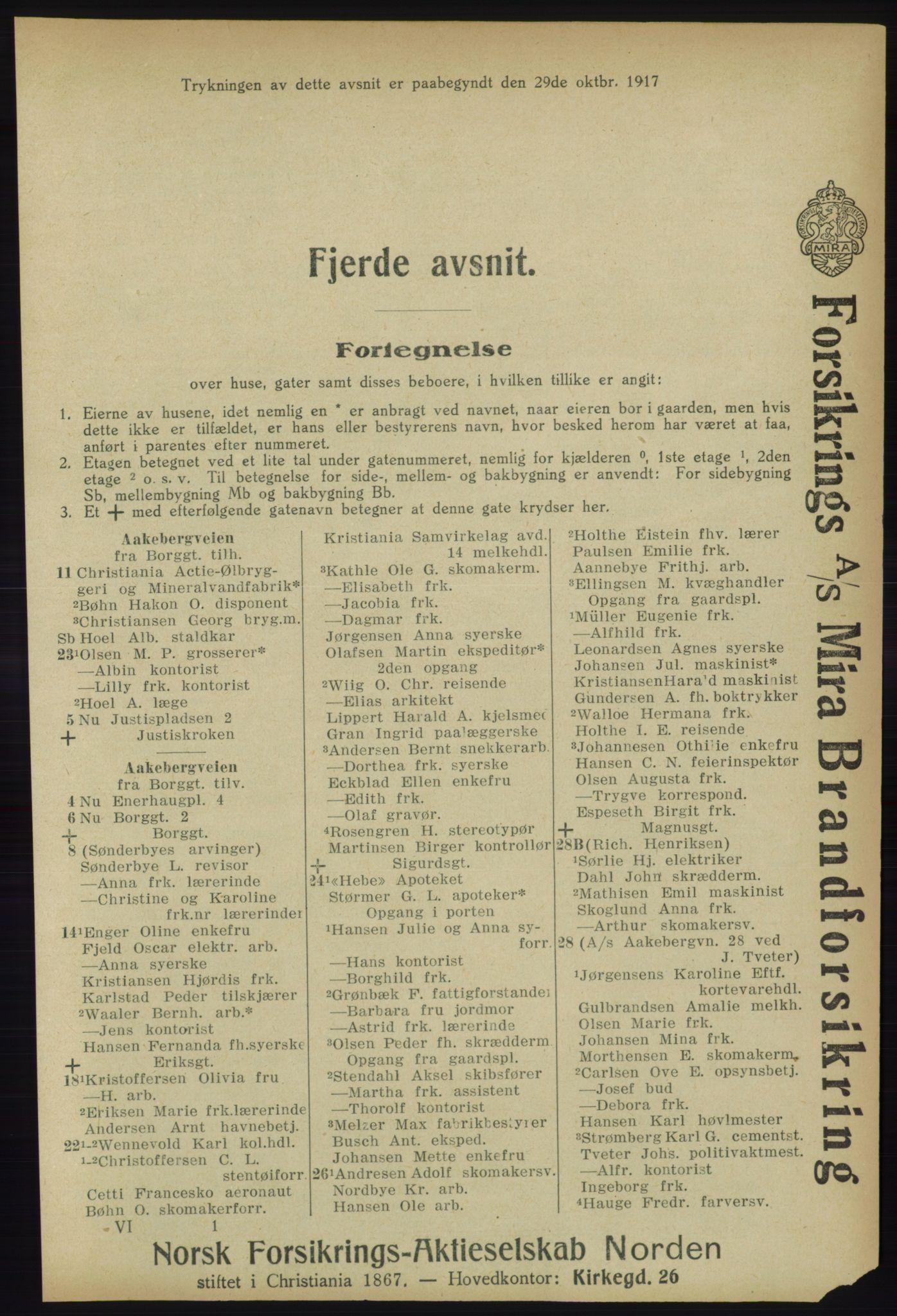 RA, Kristiania adressebok (publikasjon)*, 1918, s. 1391