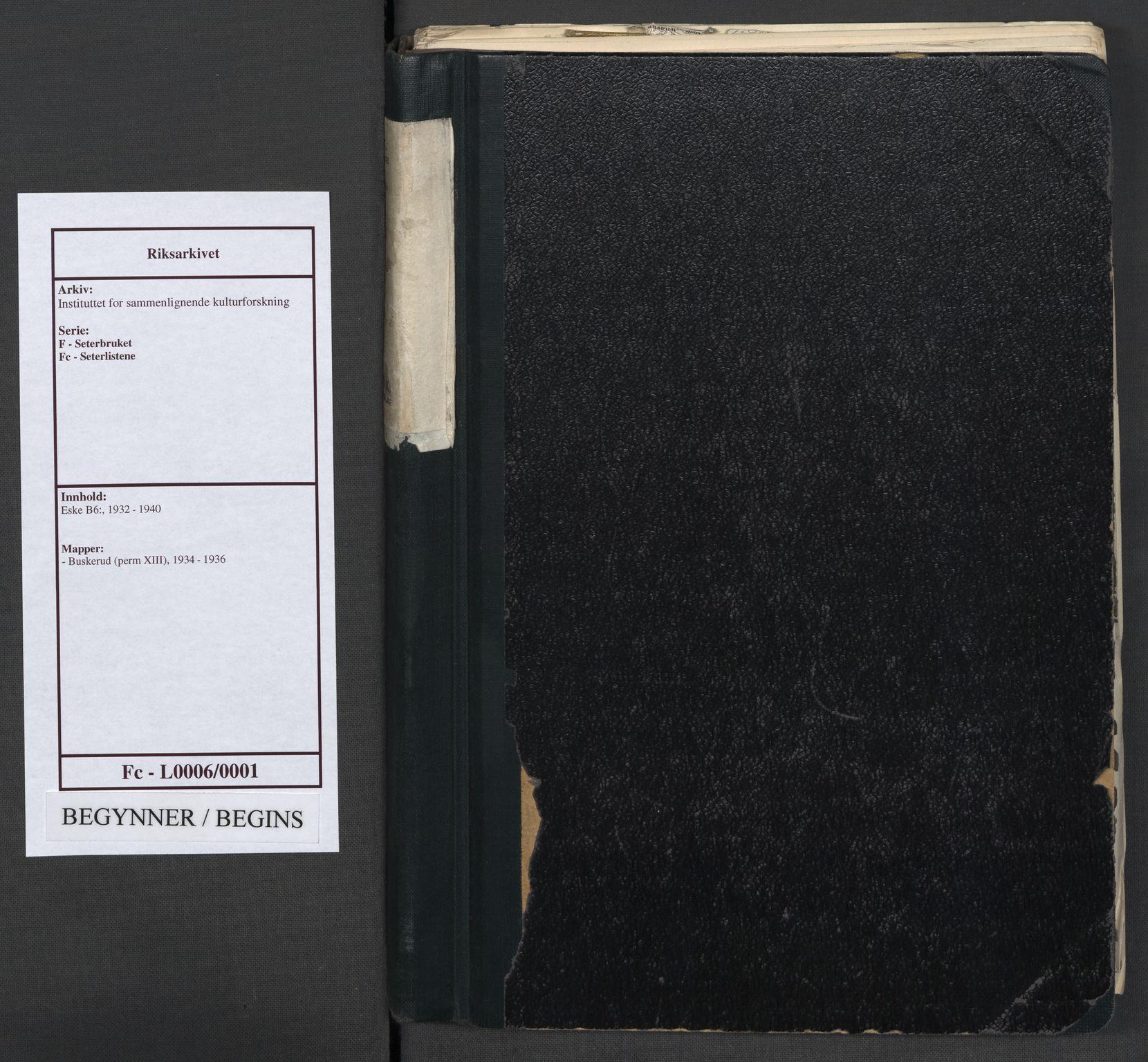 RA, Instituttet for sammenlignende kulturforskning, F/Fc/L0006: Eske B6:, 1934-1936, s. upaginert