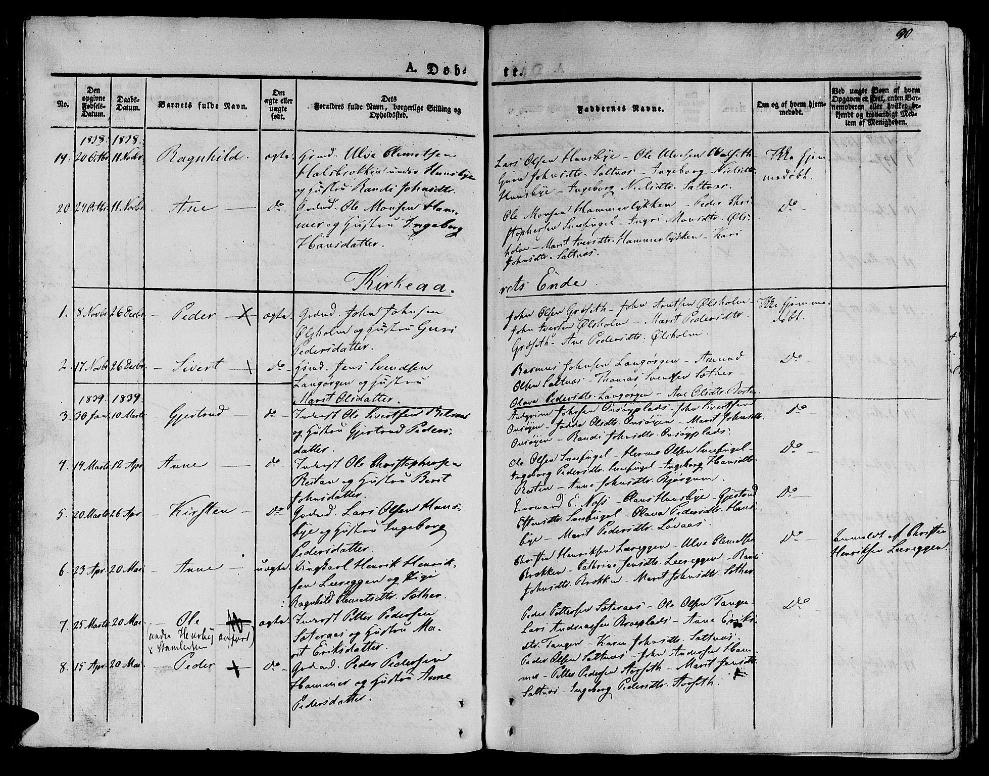 SAT, Ministerialprotokoller, klokkerbøker og fødselsregistre - Sør-Trøndelag, 612/L0375: Ministerialbok nr. 612A07 /2, 1829-1845, s. 90