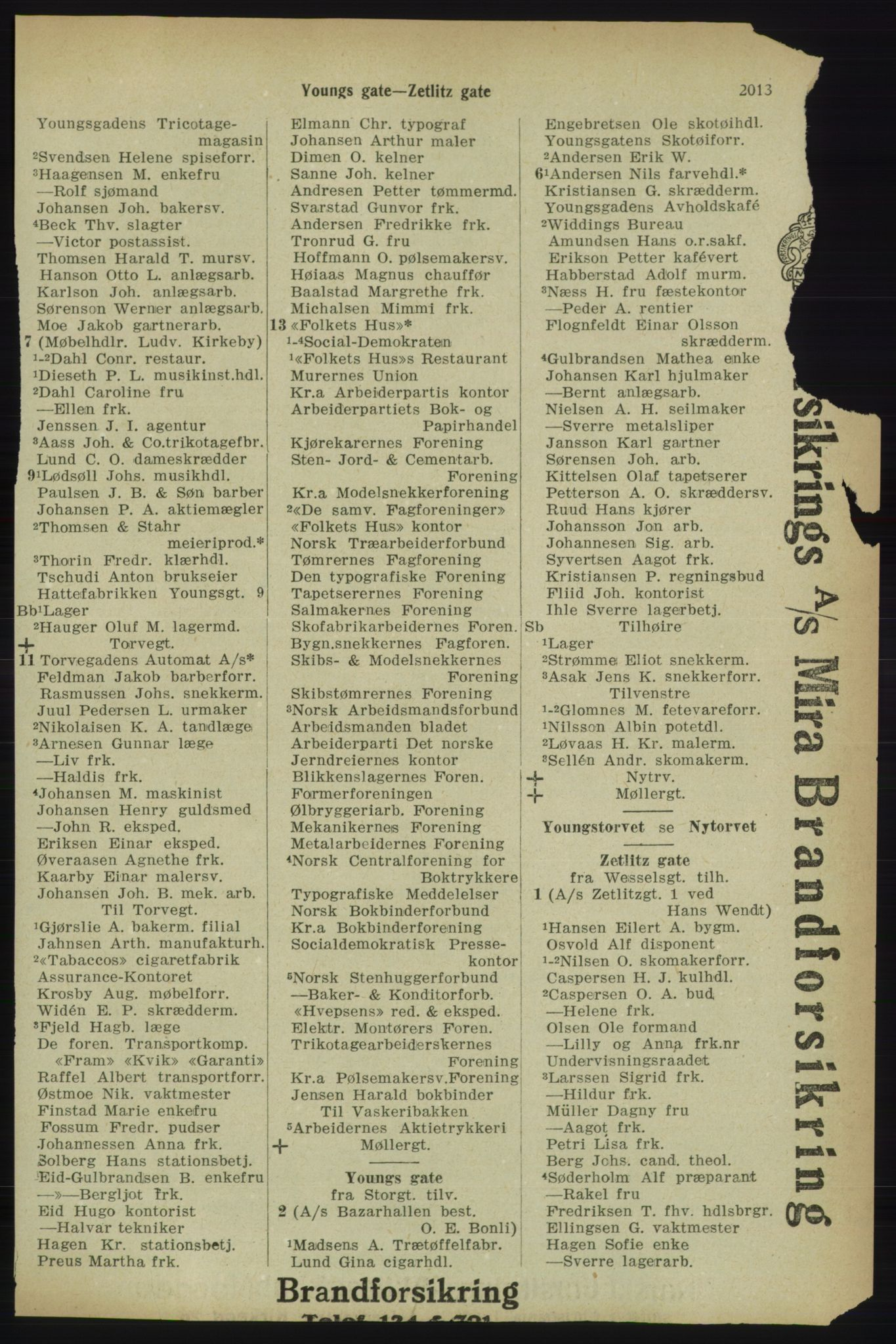 RA, Kristiania adressebok (publikasjon)*, 1918, s. 2013
