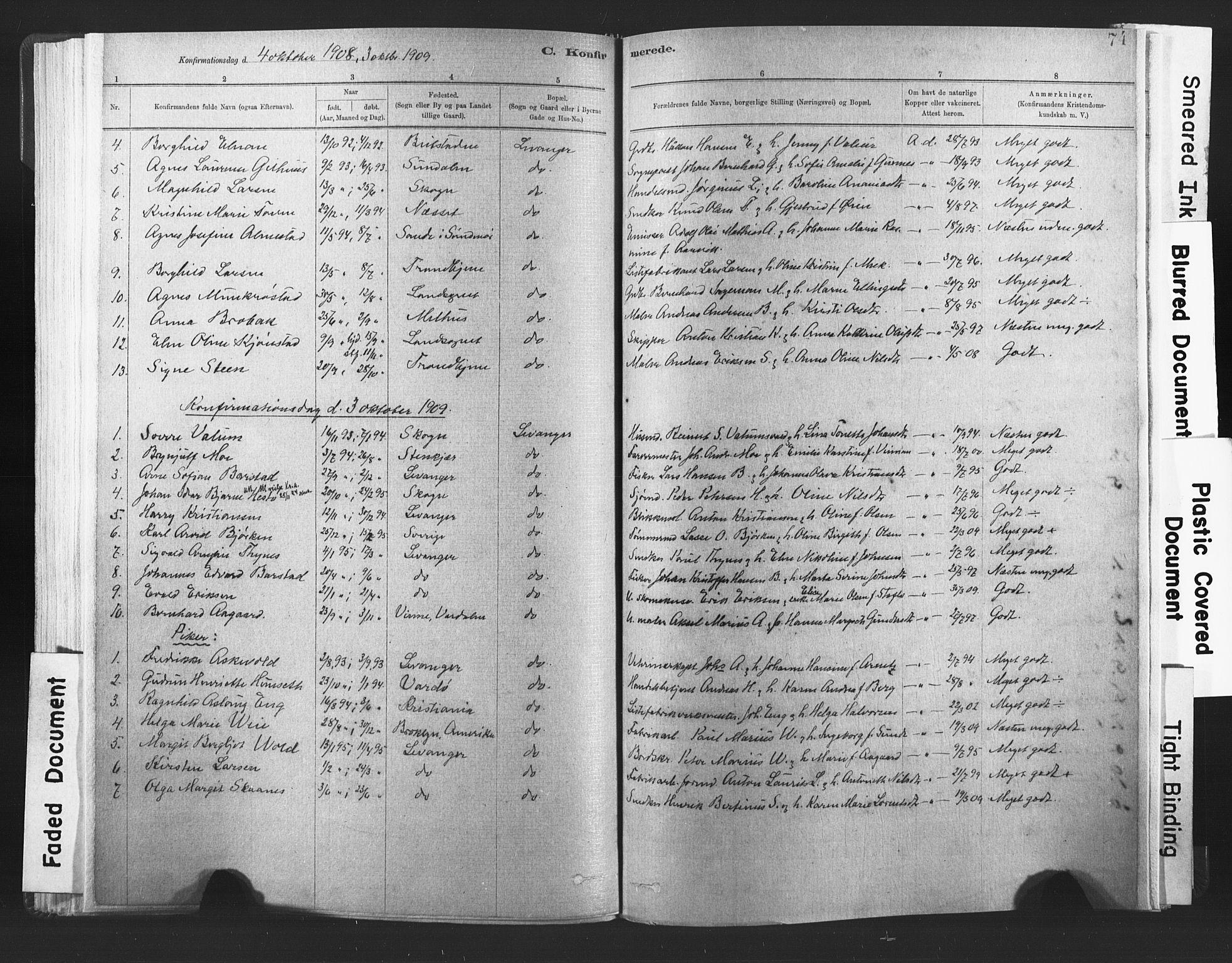 SAT, Ministerialprotokoller, klokkerbøker og fødselsregistre - Nord-Trøndelag, 720/L0189: Ministerialbok nr. 720A05, 1880-1911, s. 74
