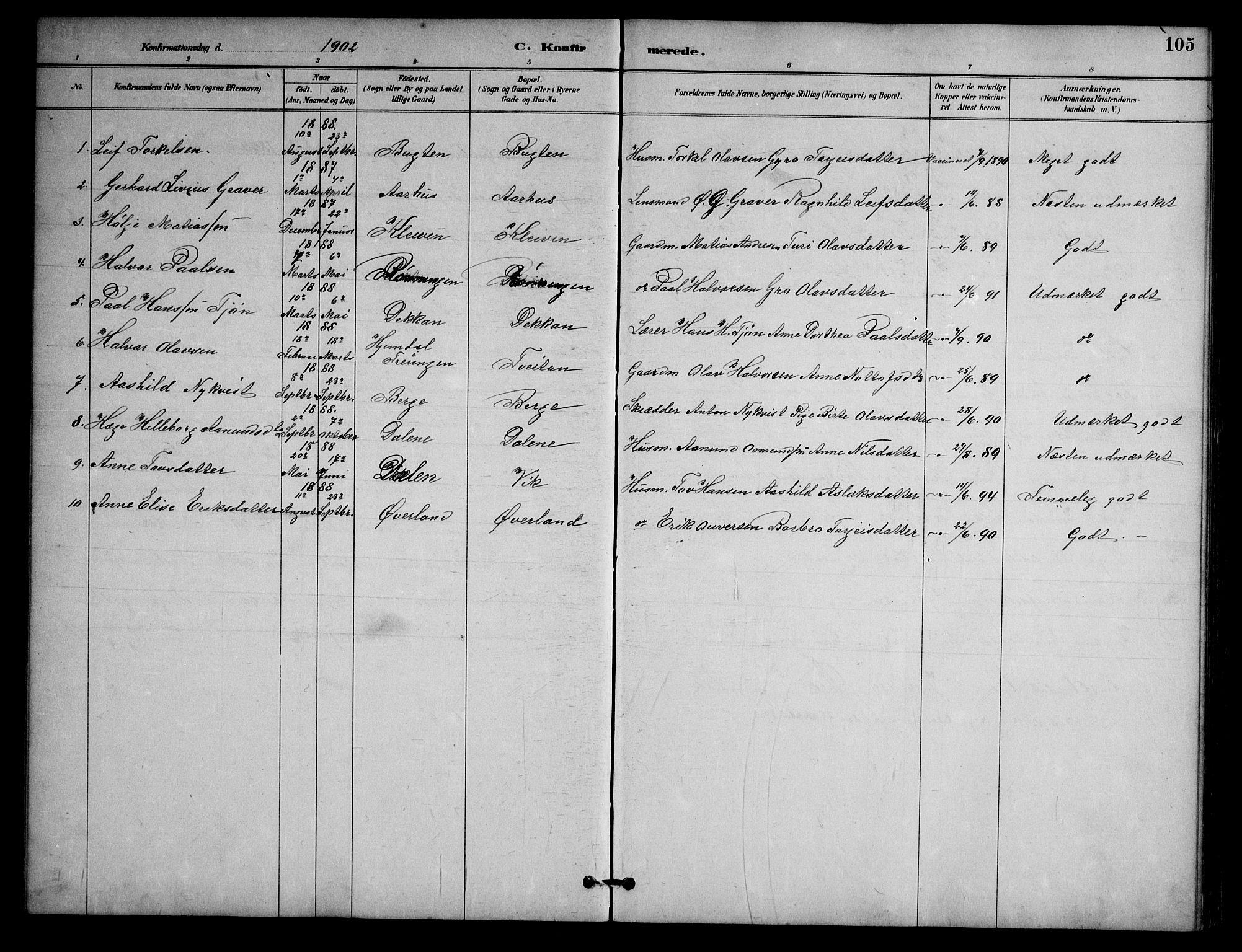 SAKO, Nissedal kirkebøker, G/Ga/L0003: Klokkerbok nr. I 3, 1887-1911, s. 105