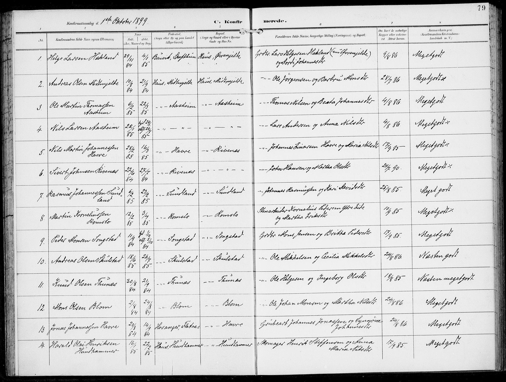 SAB, Haus Sokneprestembete, H/Haa: Ministerialbok nr. B  2, 1899-1912, s. 79