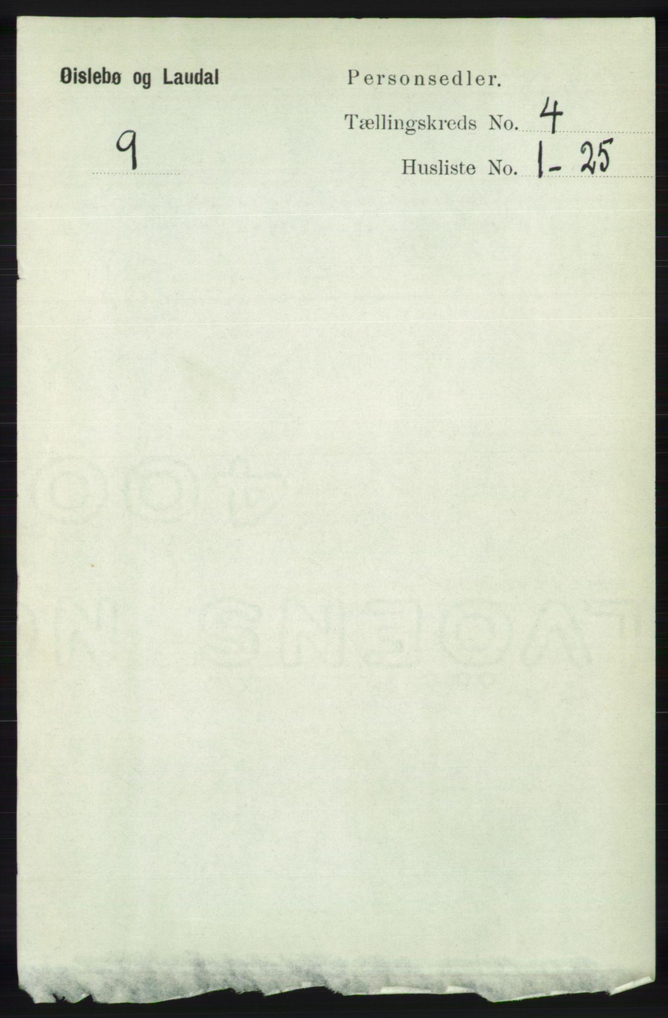 RA, Folketelling 1891 for 1021 Øyslebø og Laudal herred, 1891, s. 1006