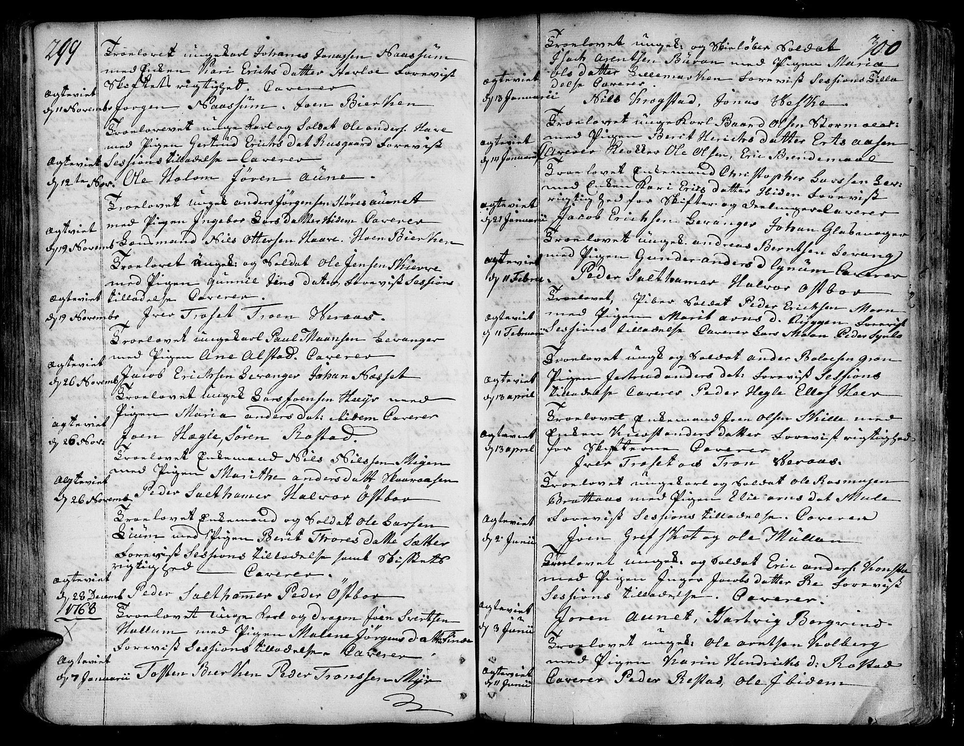SAT, Ministerialprotokoller, klokkerbøker og fødselsregistre - Nord-Trøndelag, 717/L0141: Ministerialbok nr. 717A01, 1747-1803, s. 299-300