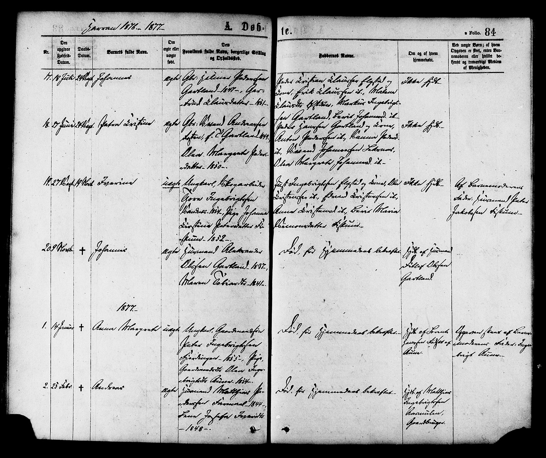 SAT, Ministerialprotokoller, klokkerbøker og fødselsregistre - Nord-Trøndelag, 758/L0516: Ministerialbok nr. 758A03 /3, 1869-1879, s. 84