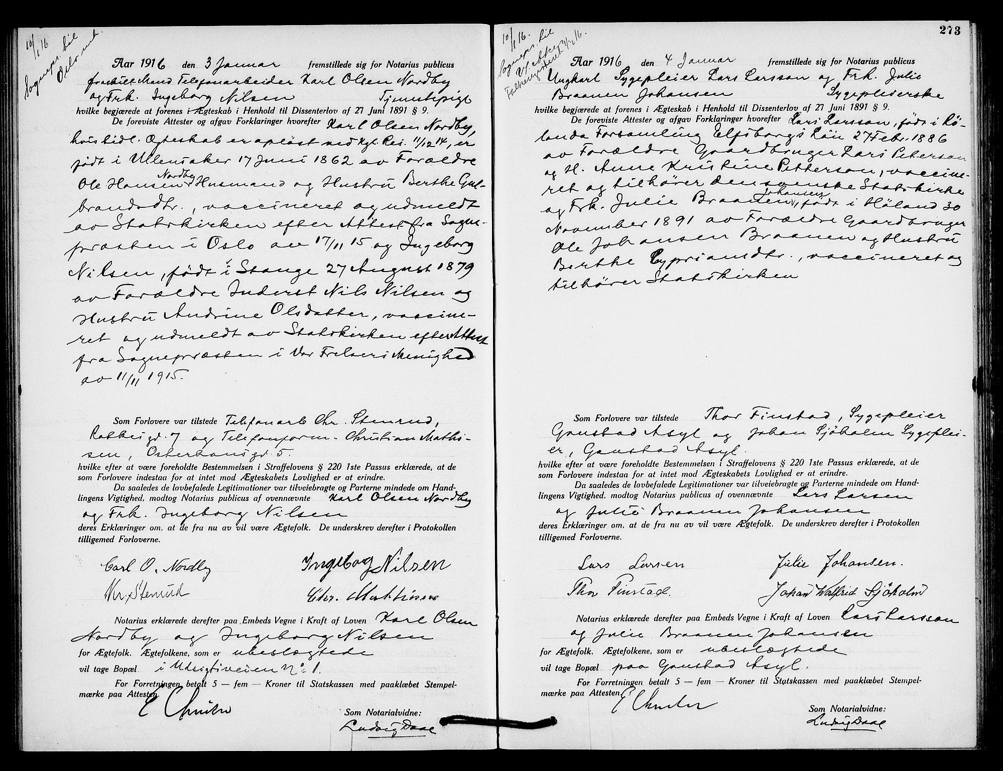 SAO, Oslo byfogd avd. I, L/Lb/Lbb/L0010: Notarialprotokoll, rekke II: Vigsler, 1914-1916, s. 272b-273a