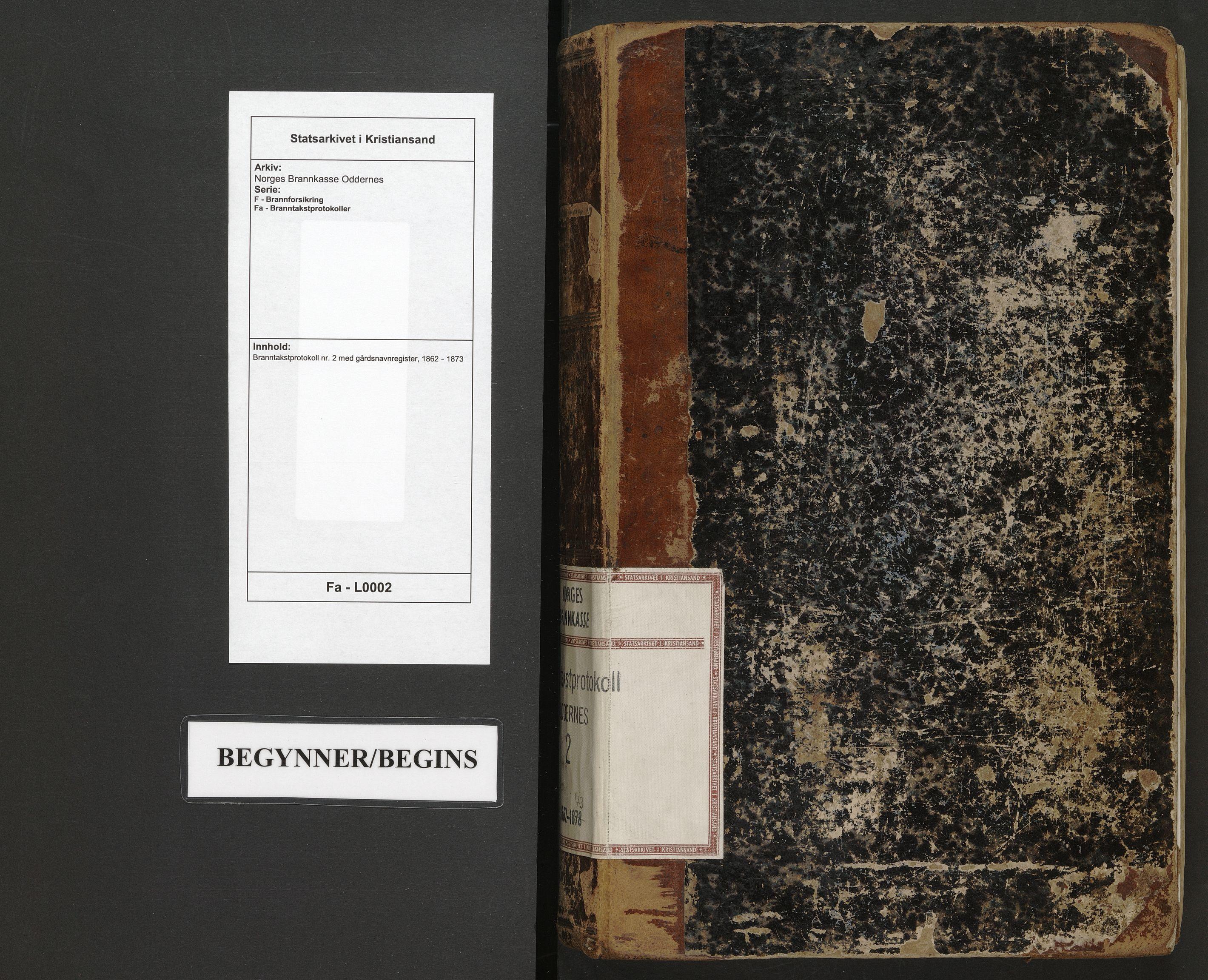 SAK, Norges Brannkasse Oddernes, F/Fa/L0002: Branntakstprotokoll nr. 2 med gårdsnavnregister, 1862-1873