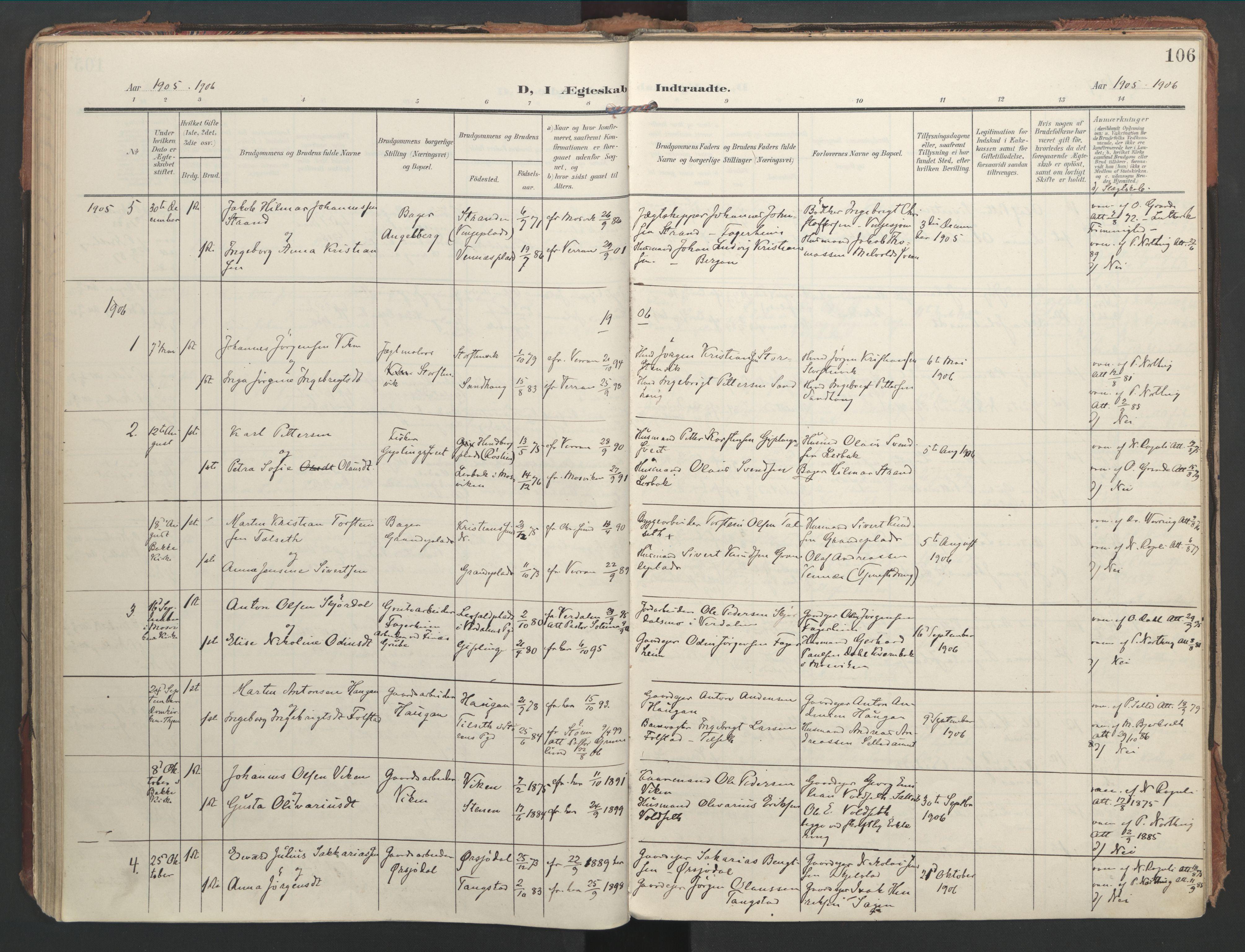 SAT, Ministerialprotokoller, klokkerbøker og fødselsregistre - Nord-Trøndelag, 744/L0421: Ministerialbok nr. 744A05, 1905-1930, s. 106