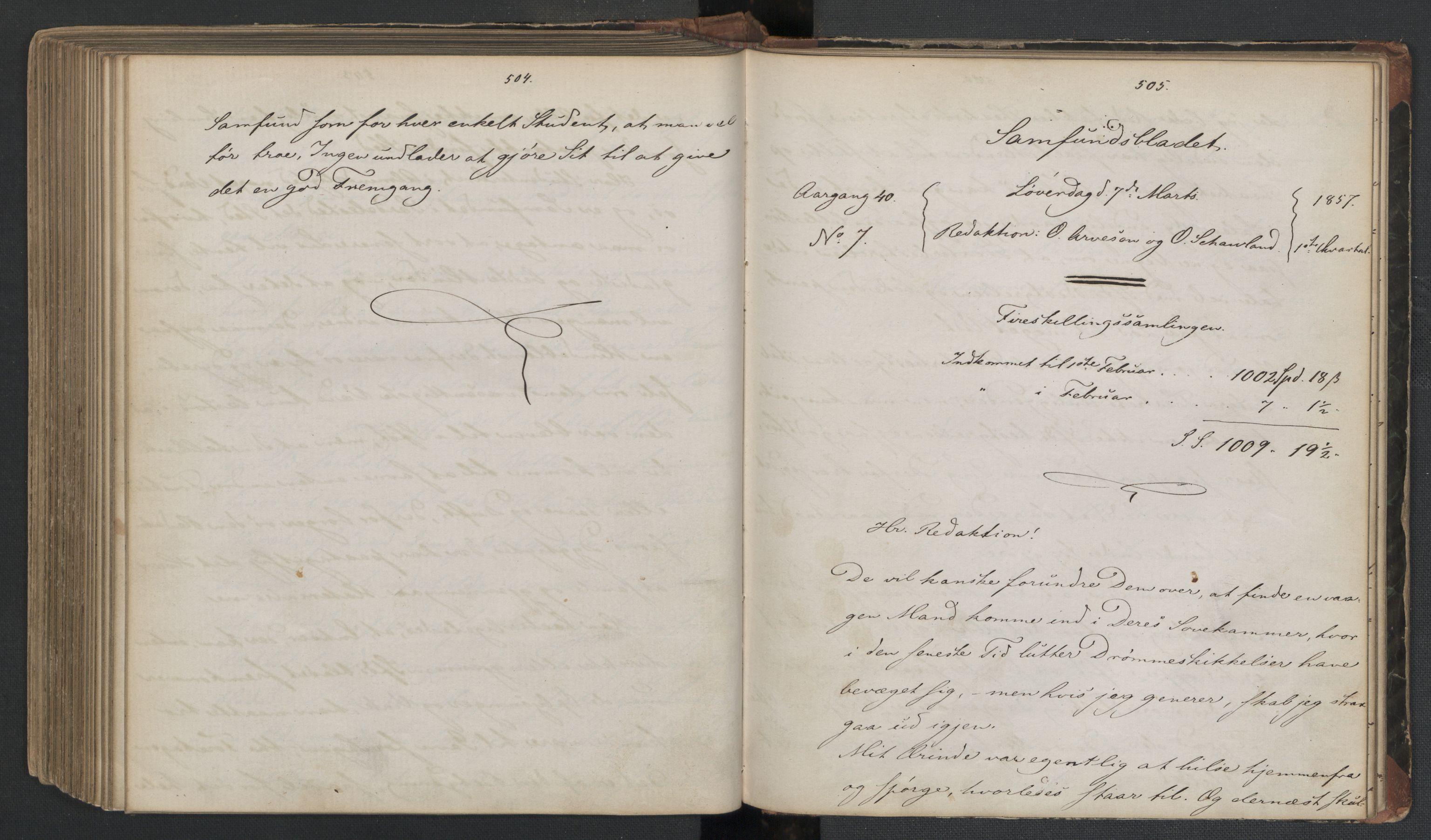 RA, Det Norske Studentersamfund, X/Xa/L0006, 1856-1857, s. 256