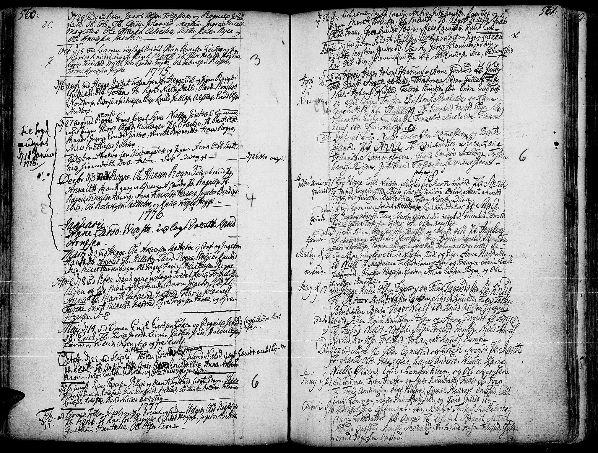 SAH, Slidre prestekontor, Ministerialbok nr. 1, 1724-1814, s. 560-561