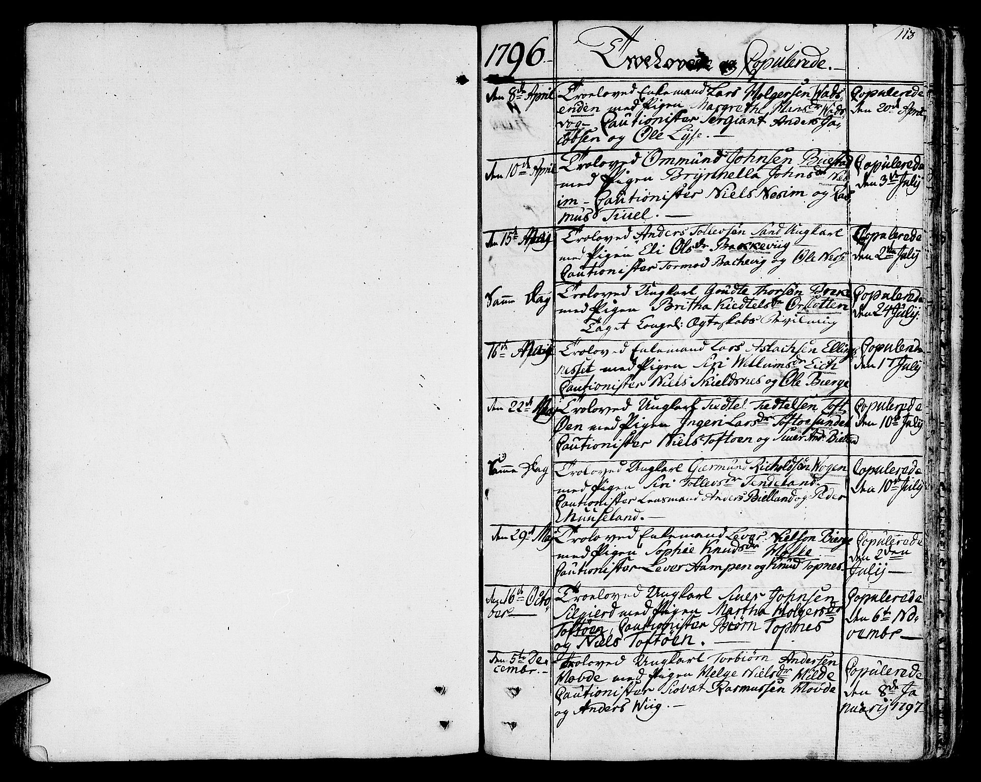 SAST, Nedstrand sokneprestkontor, IV: Ministerialbok nr. A 5, 1795-1816, s. 113