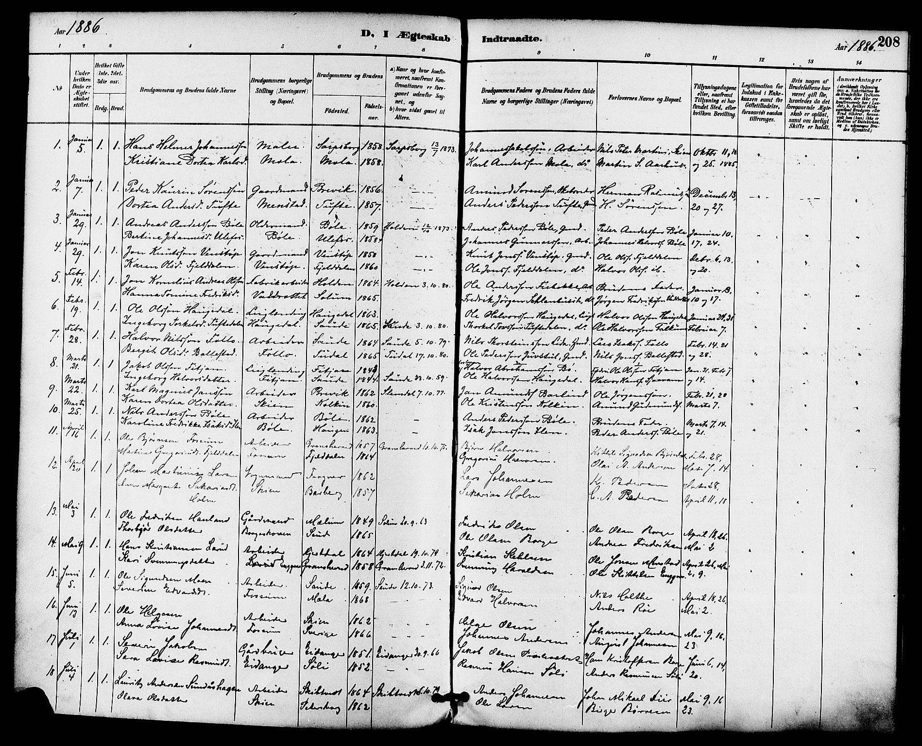 SAKO, Gjerpen kirkebøker, F/Fa/L0010: Ministerialbok nr. 10, 1886-1895, s. 208