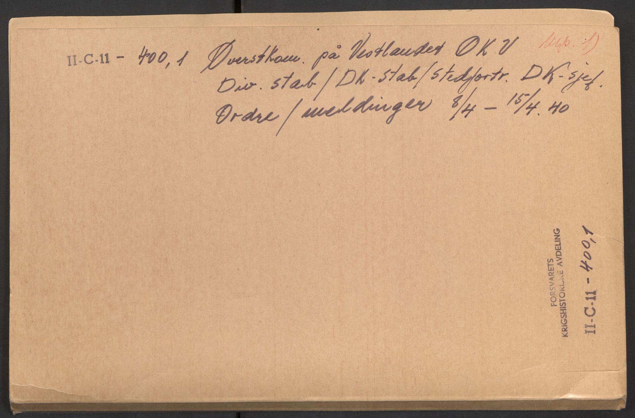 RA, Forsvaret, Forsvarets krigshistoriske avdeling, Y/Yb/L0098: II-C-11-400  -  4. Divisjon., 1940, s. 1