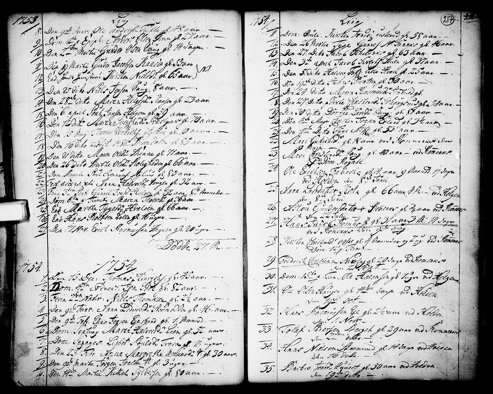 SAKO, Holla kirkebøker, F/Fa/L0001: Ministerialbok nr. 1, 1717-1779, s. 217