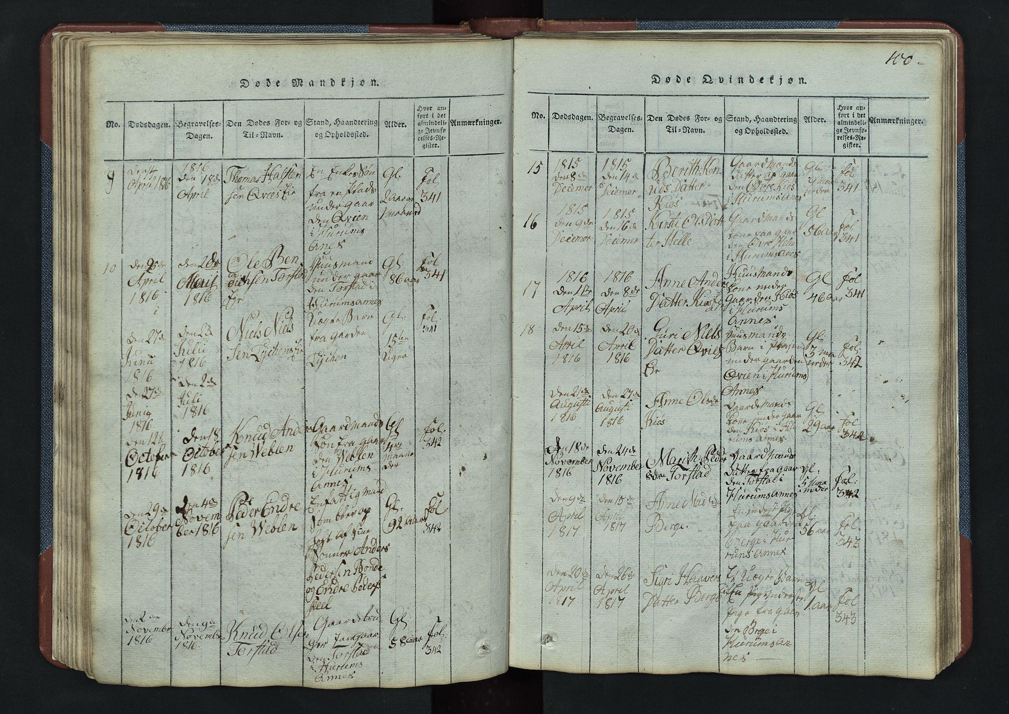 SAH, Vang prestekontor, Valdres, Klokkerbok nr. 3, 1814-1892, s. 100