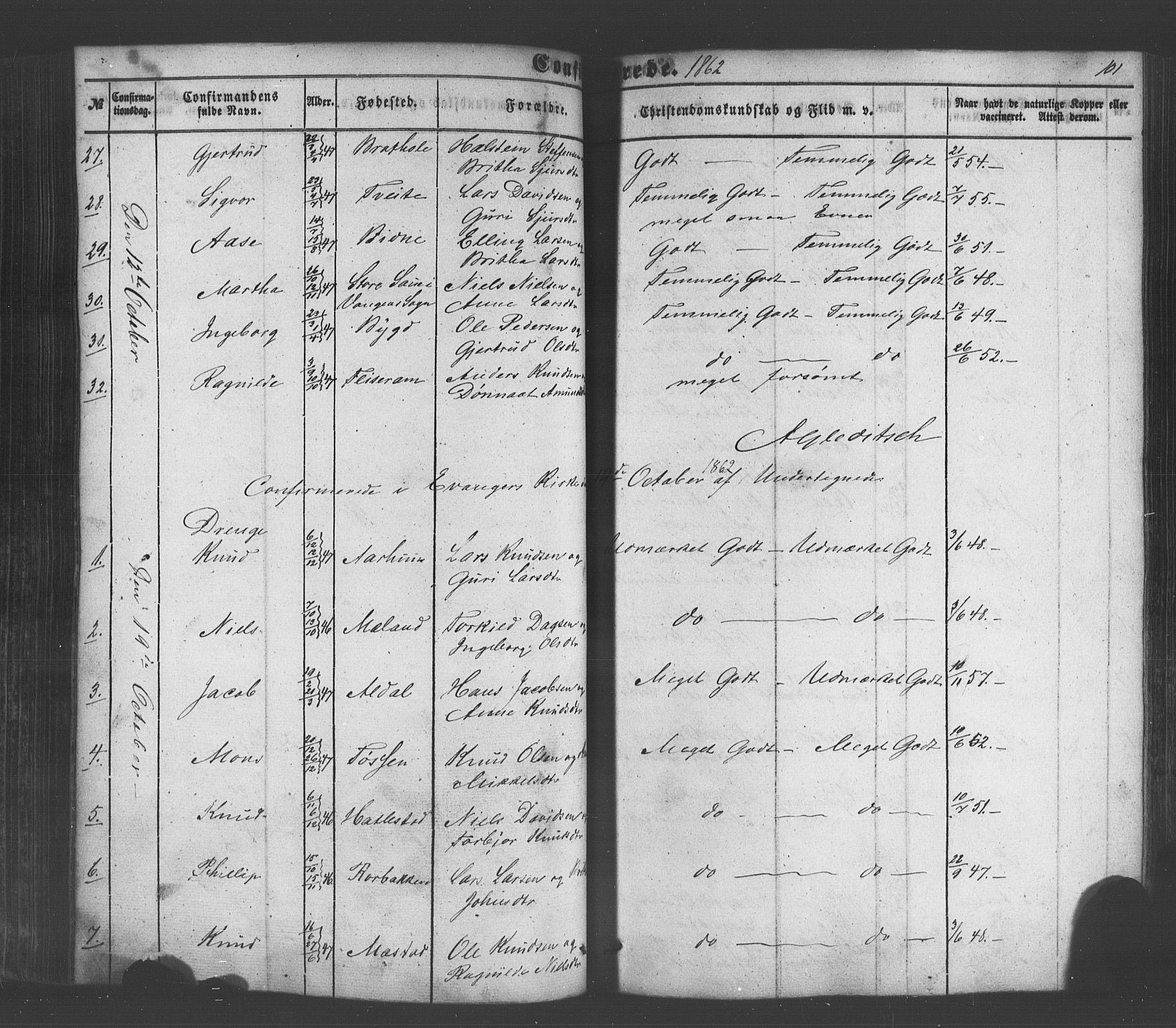 SAB, Voss Sokneprestembete, H/Haa: Ministerialbok nr. A 18, 1848-1876, s. 101