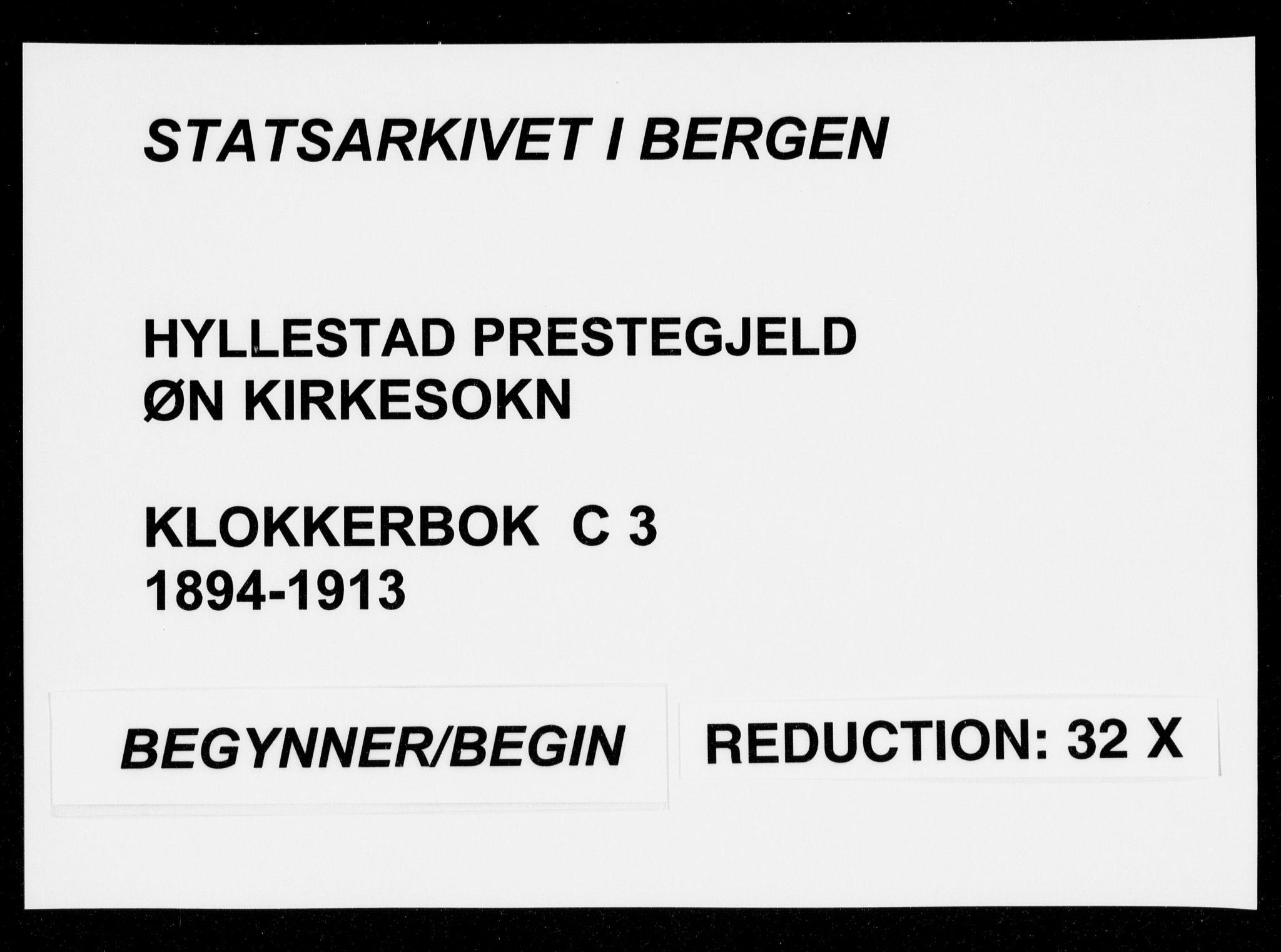SAB, Hyllestad Sokneprestembete, Klokkerbok nr. C 3, 1894-1913
