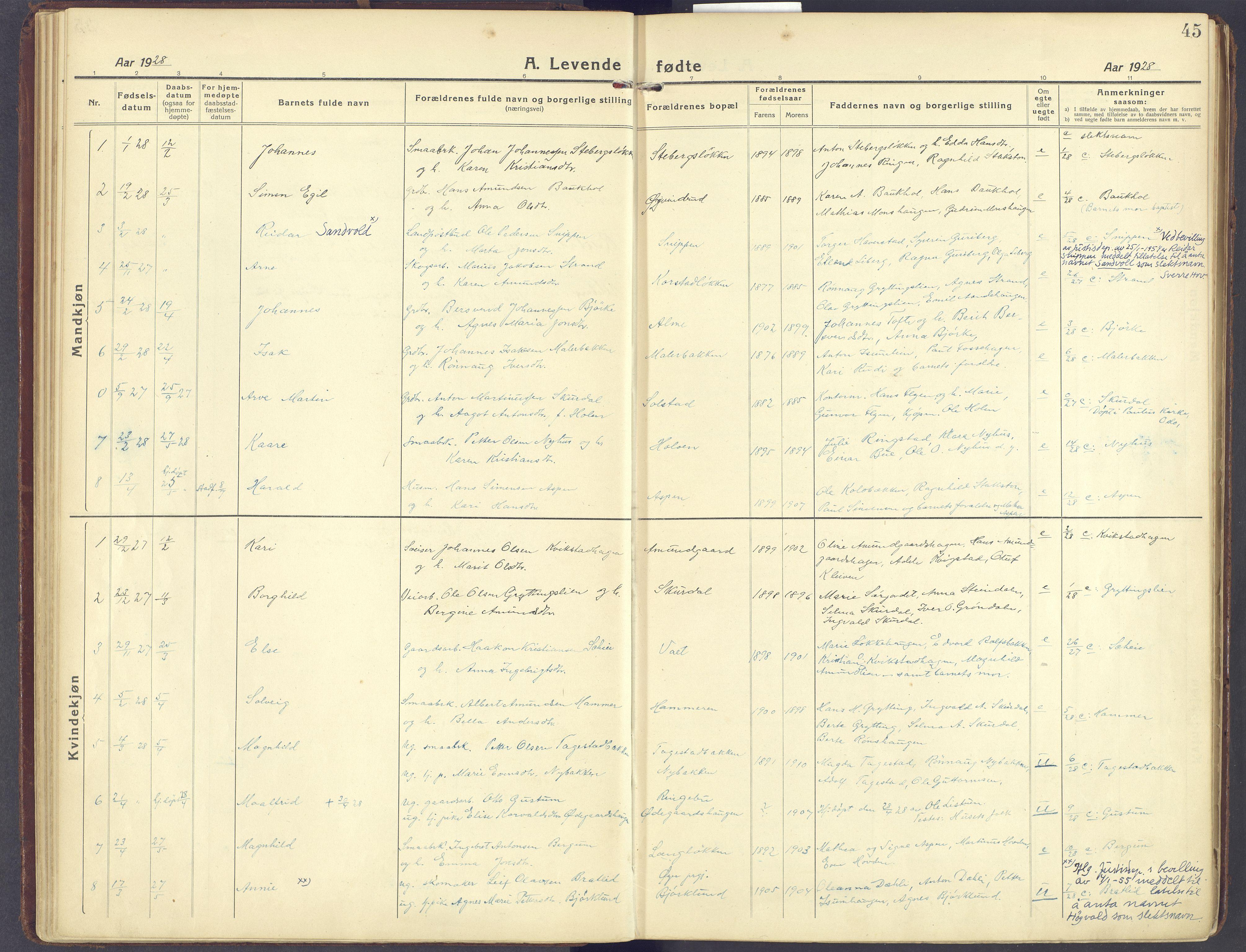SAH, Sør-Fron prestekontor, H/Ha/Haa/L0005: Ministerialbok nr. 5, 1920-1933, s. 45