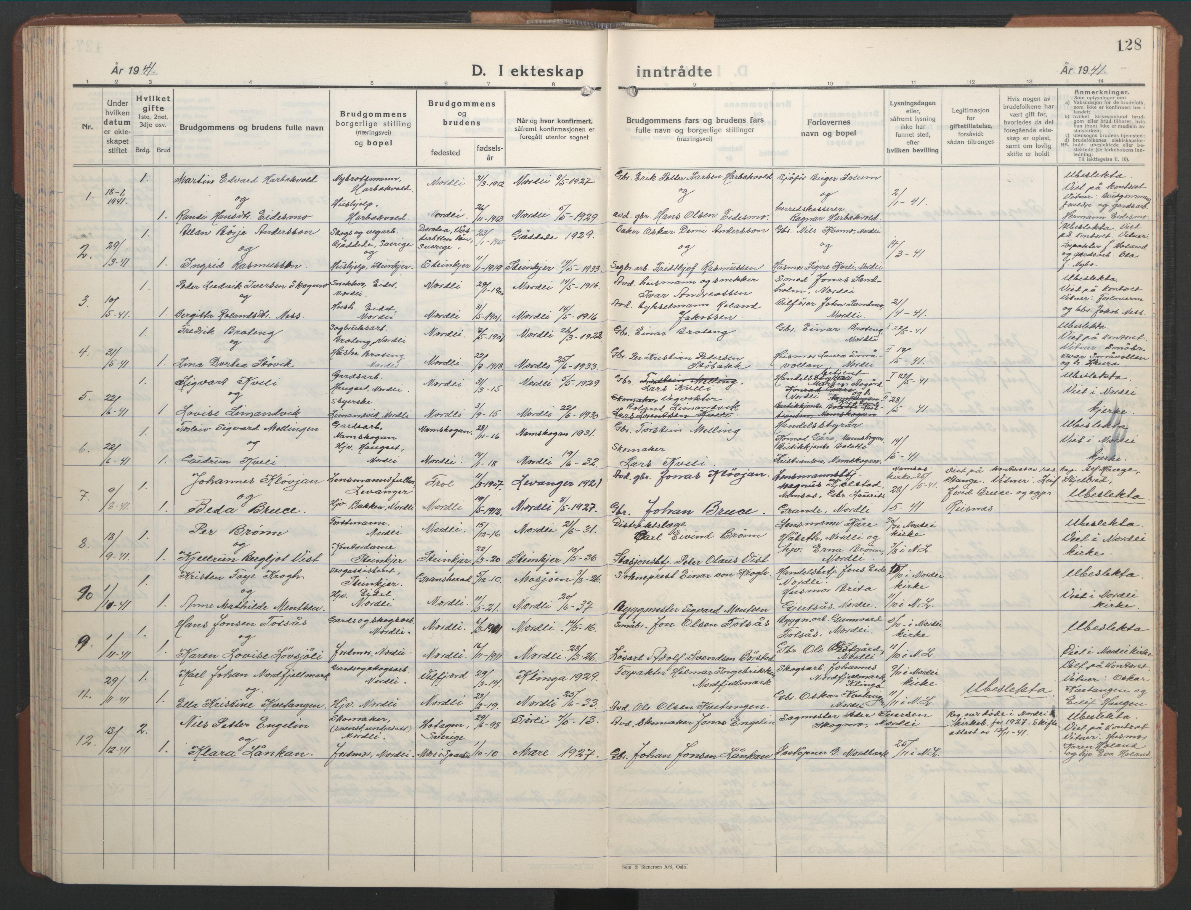 SAT, Ministerialprotokoller, klokkerbøker og fødselsregistre - Nord-Trøndelag, 755/L0500: Klokkerbok nr. 755C01, 1920-1962, s. 128