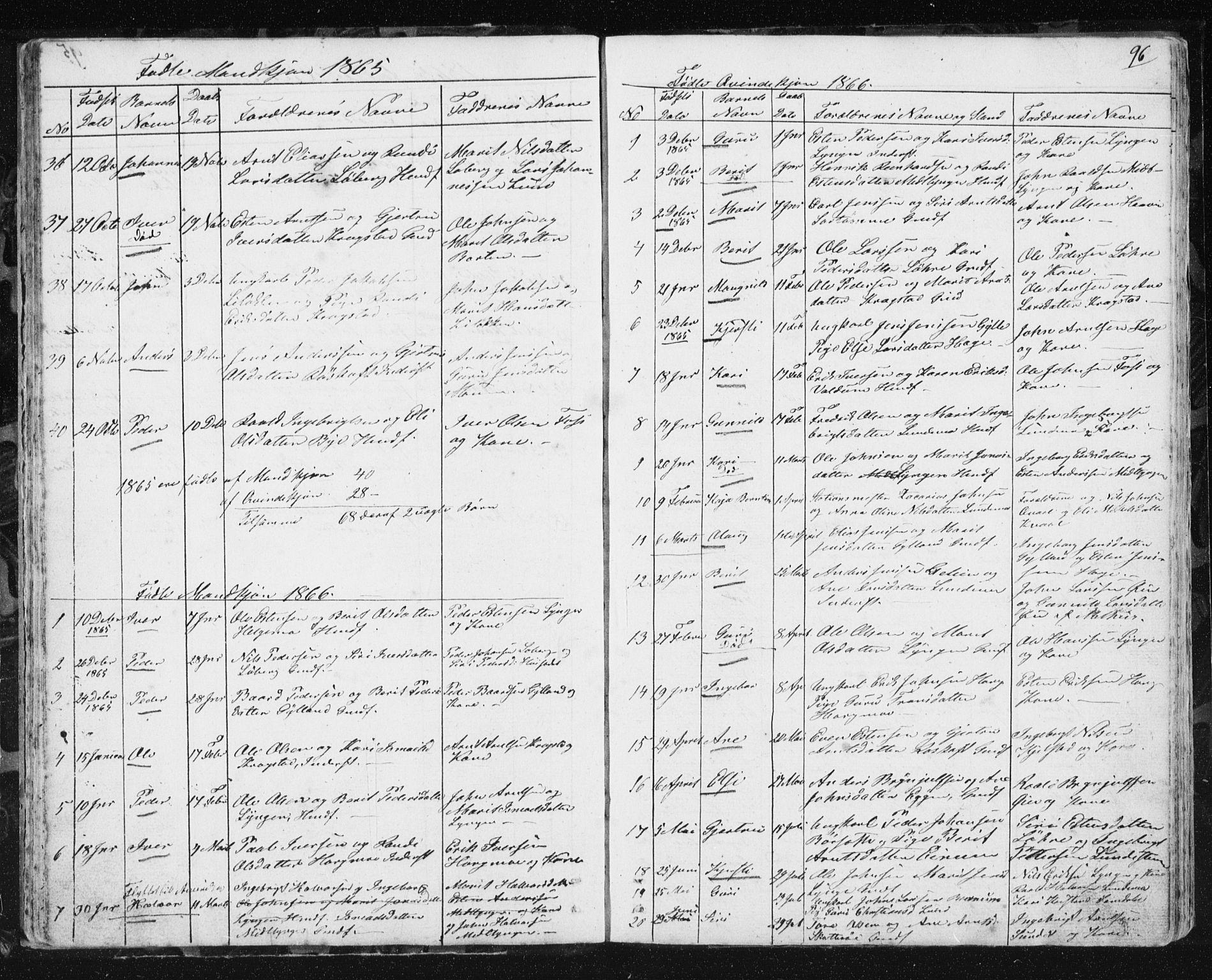 SAT, Ministerialprotokoller, klokkerbøker og fødselsregistre - Sør-Trøndelag, 692/L1110: Klokkerbok nr. 692C05, 1849-1889, s. 96