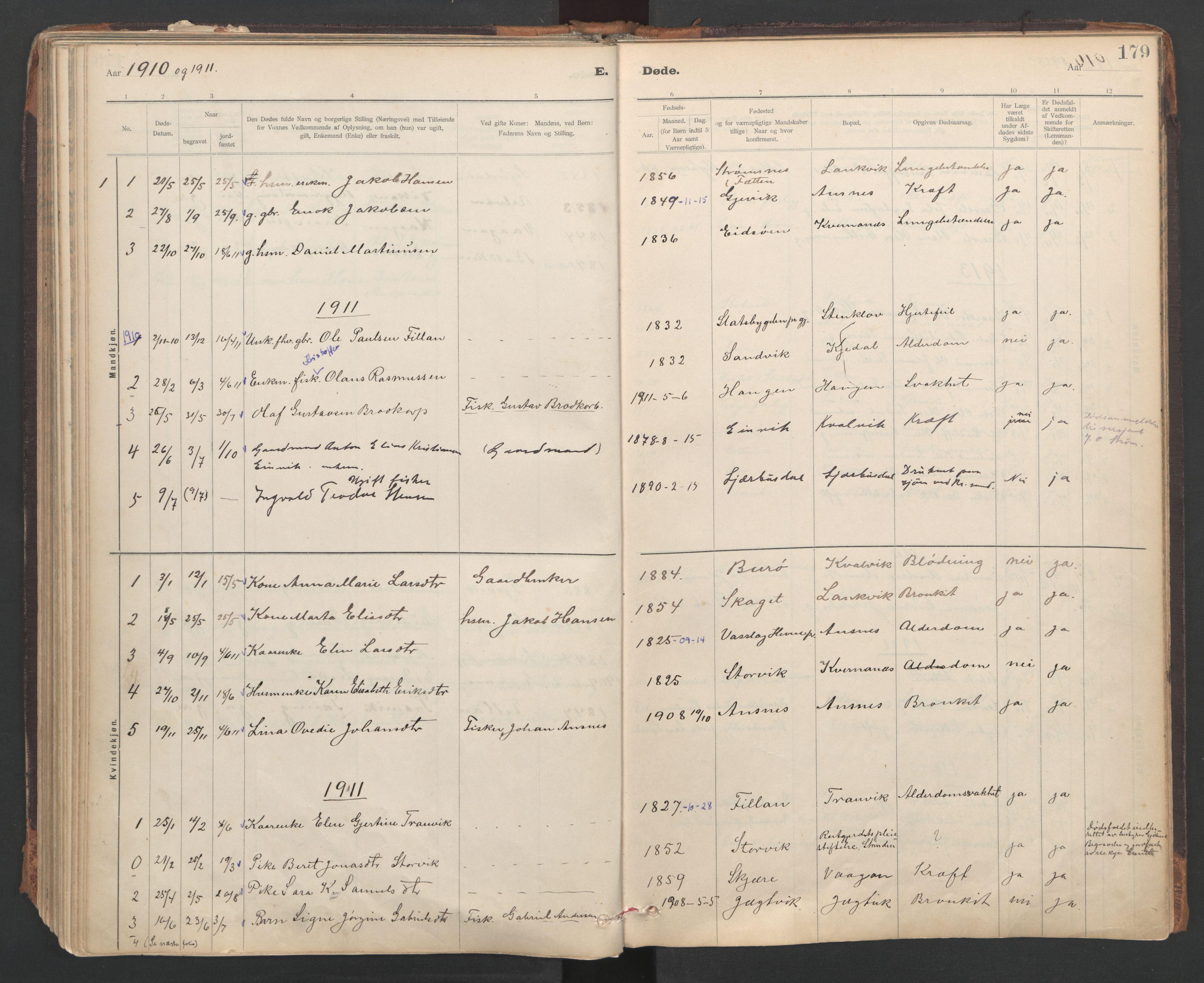 SAT, Ministerialprotokoller, klokkerbøker og fødselsregistre - Sør-Trøndelag, 637/L0559: Ministerialbok nr. 637A02, 1899-1923, s. 179