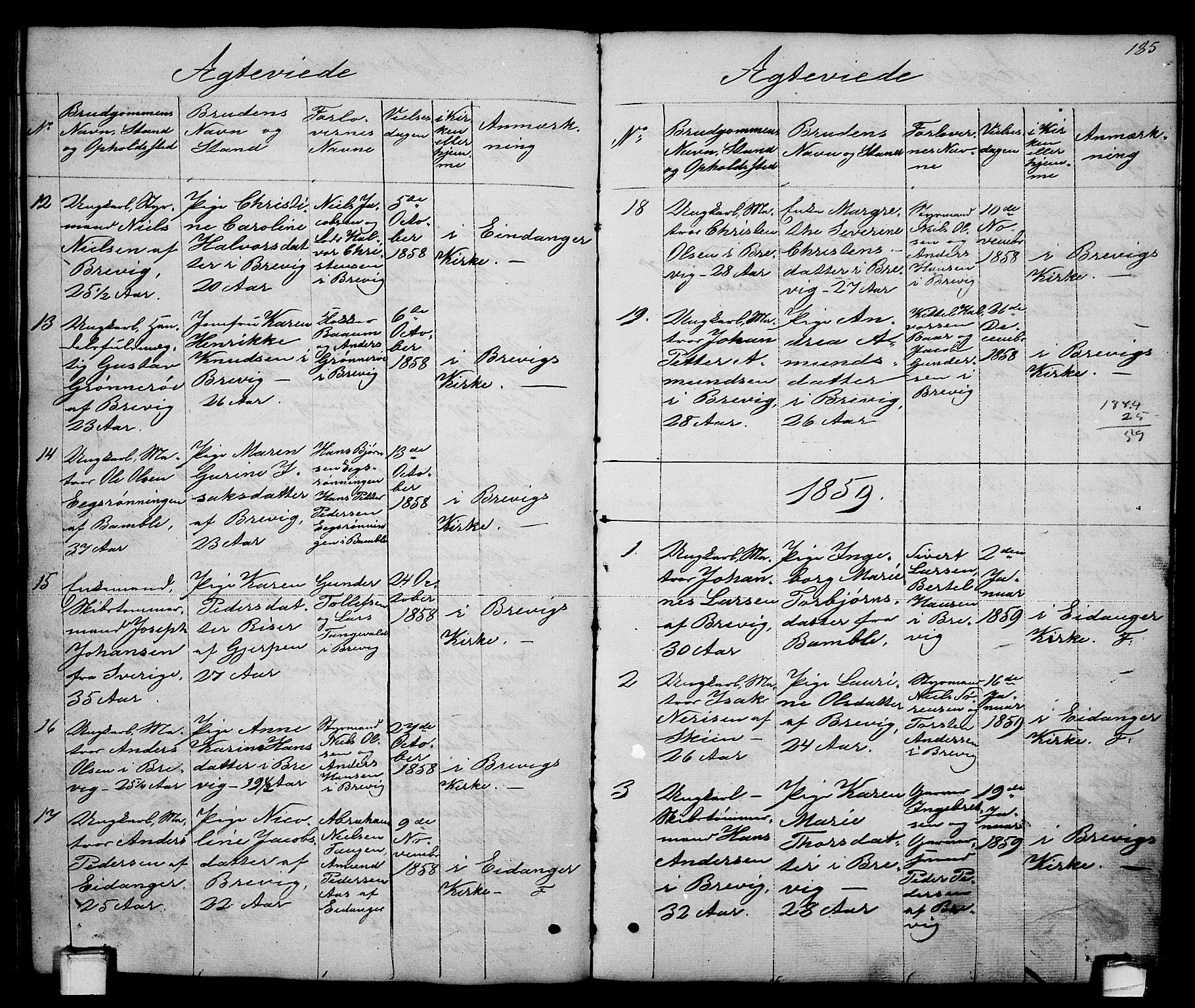 SAKO, Brevik kirkebøker, G/Ga/L0002: Klokkerbok nr. 2, 1846-1865, s. 185