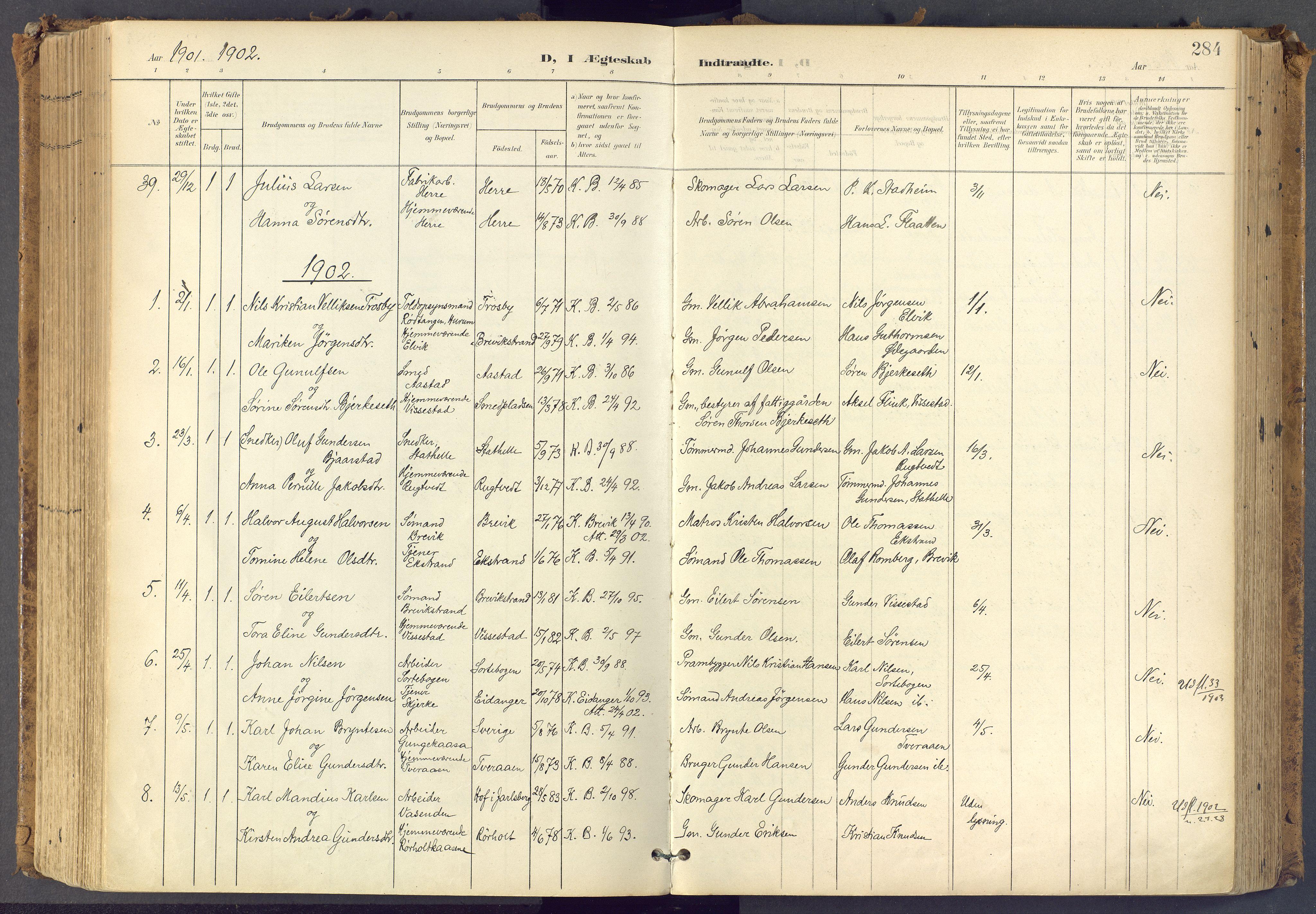 SAKO, Bamble kirkebøker, F/Fa/L0009: Ministerialbok nr. I 9, 1901-1917, s. 284