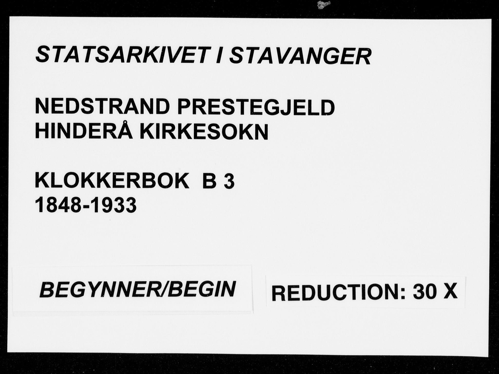 SAST, Nedstrand sokneprestkontor, V: Klokkerbok nr. B 3, 1848-1933