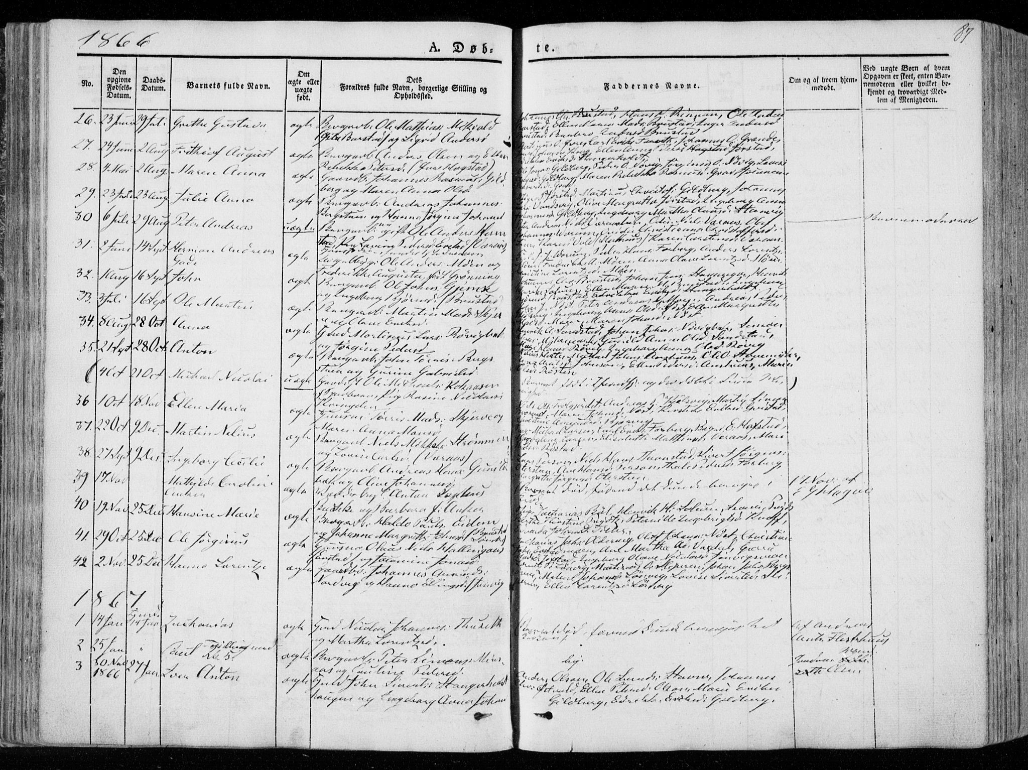SAT, Ministerialprotokoller, klokkerbøker og fødselsregistre - Nord-Trøndelag, 722/L0218: Ministerialbok nr. 722A05, 1843-1868, s. 87