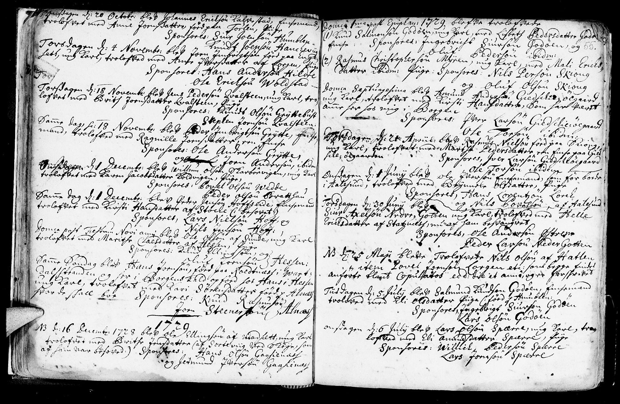 SAT, Ministerialprotokoller, klokkerbøker og fødselsregistre - Møre og Romsdal, 528/L0390: Ministerialbok nr. 528A01, 1698-1739, s. 54-55
