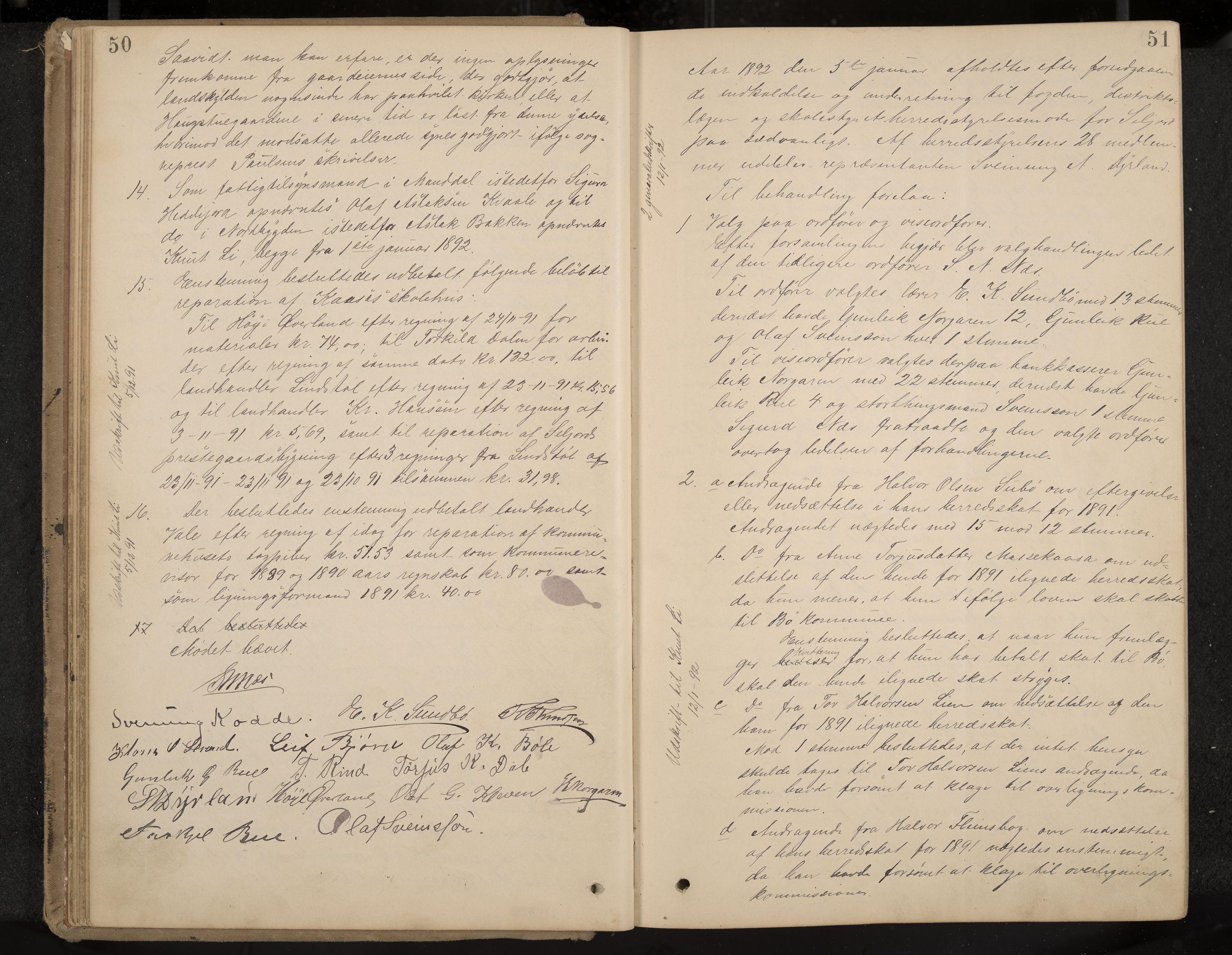 IKAK, Seljord formannskap og sentraladministrasjon, A/Aa/L0003: Møtebok med register, 1891-1905, s. 50-51