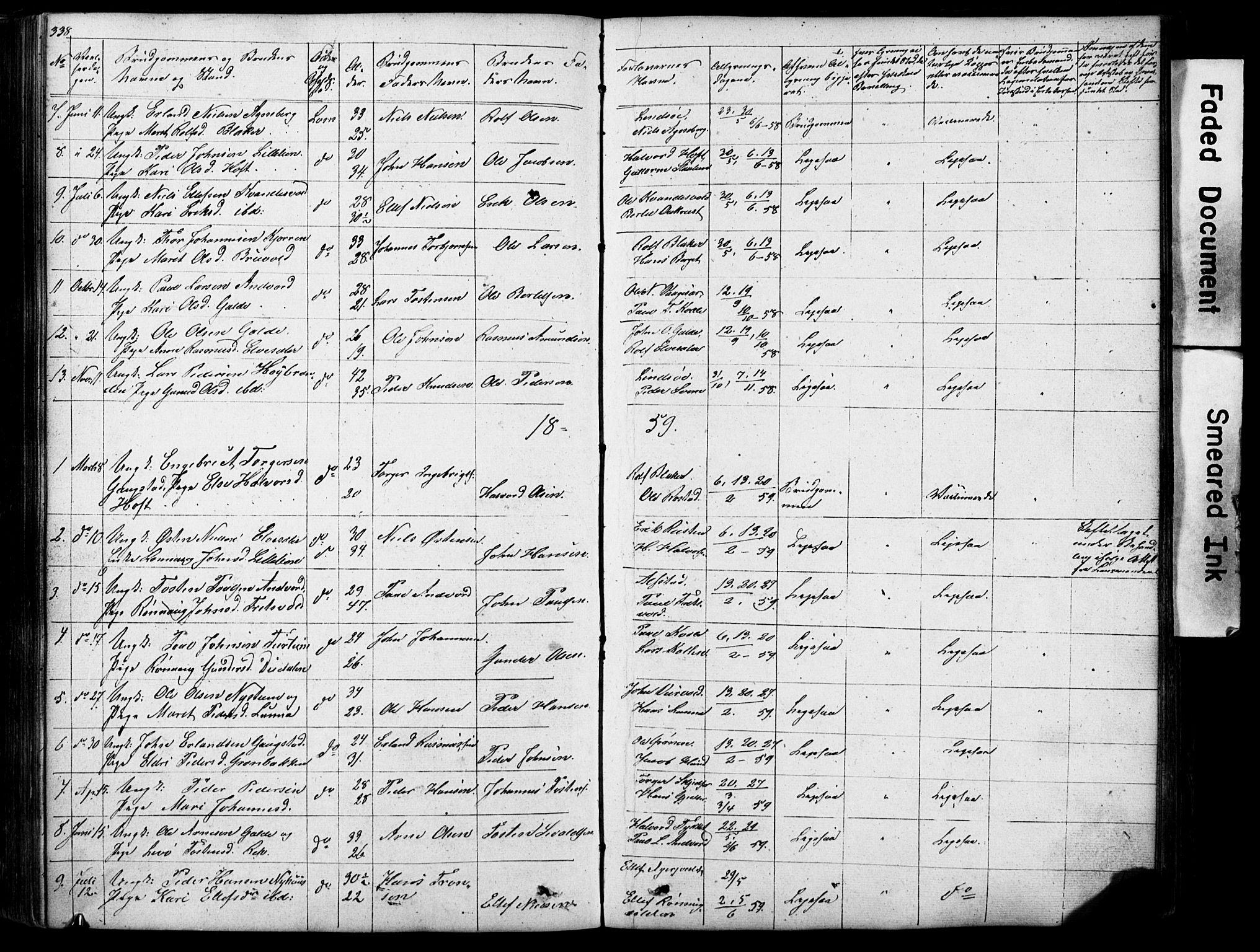 SAH, Lom prestekontor, L/L0012: Klokkerbok nr. 12, 1845-1873, s. 338-339