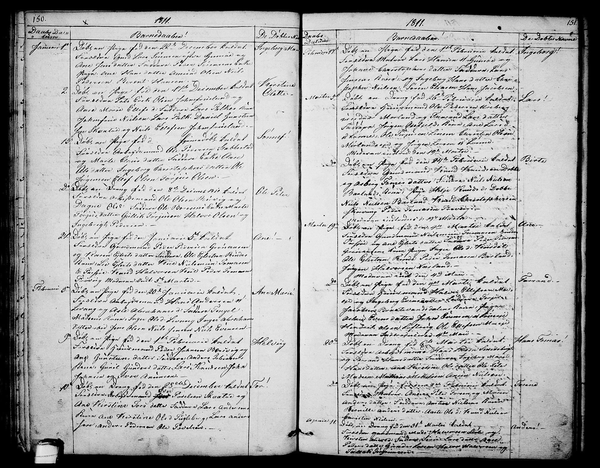 SAKO, Sannidal kirkebøker, F/Fa/L0003: Ministerialbok nr. 3, 1803-1813, s. 150-151