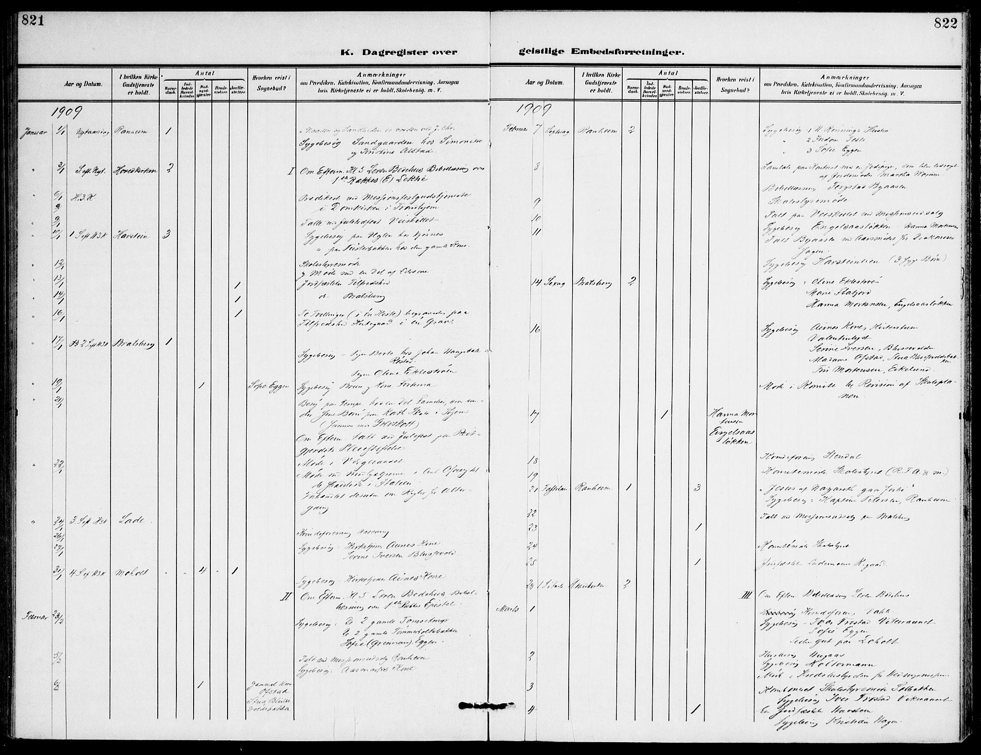 SAT, Ministerialprotokoller, klokkerbøker og fødselsregistre - Sør-Trøndelag, 607/L0320: Ministerialbok nr. 607A04, 1907-1915, s. 821-822
