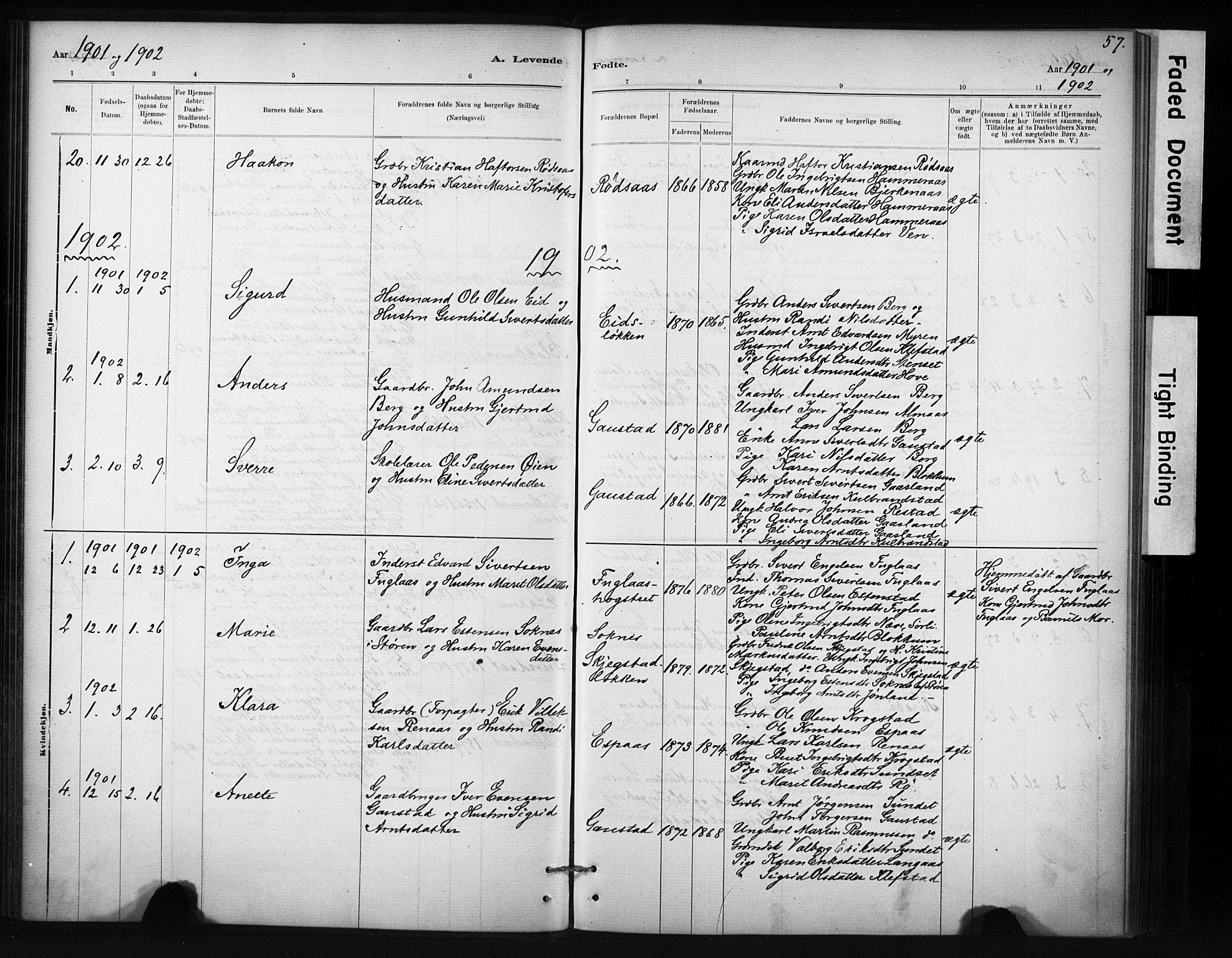 SAT, Ministerialprotokoller, klokkerbøker og fødselsregistre - Sør-Trøndelag, 694/L1127: Ministerialbok nr. 694A01, 1887-1905, s. 57