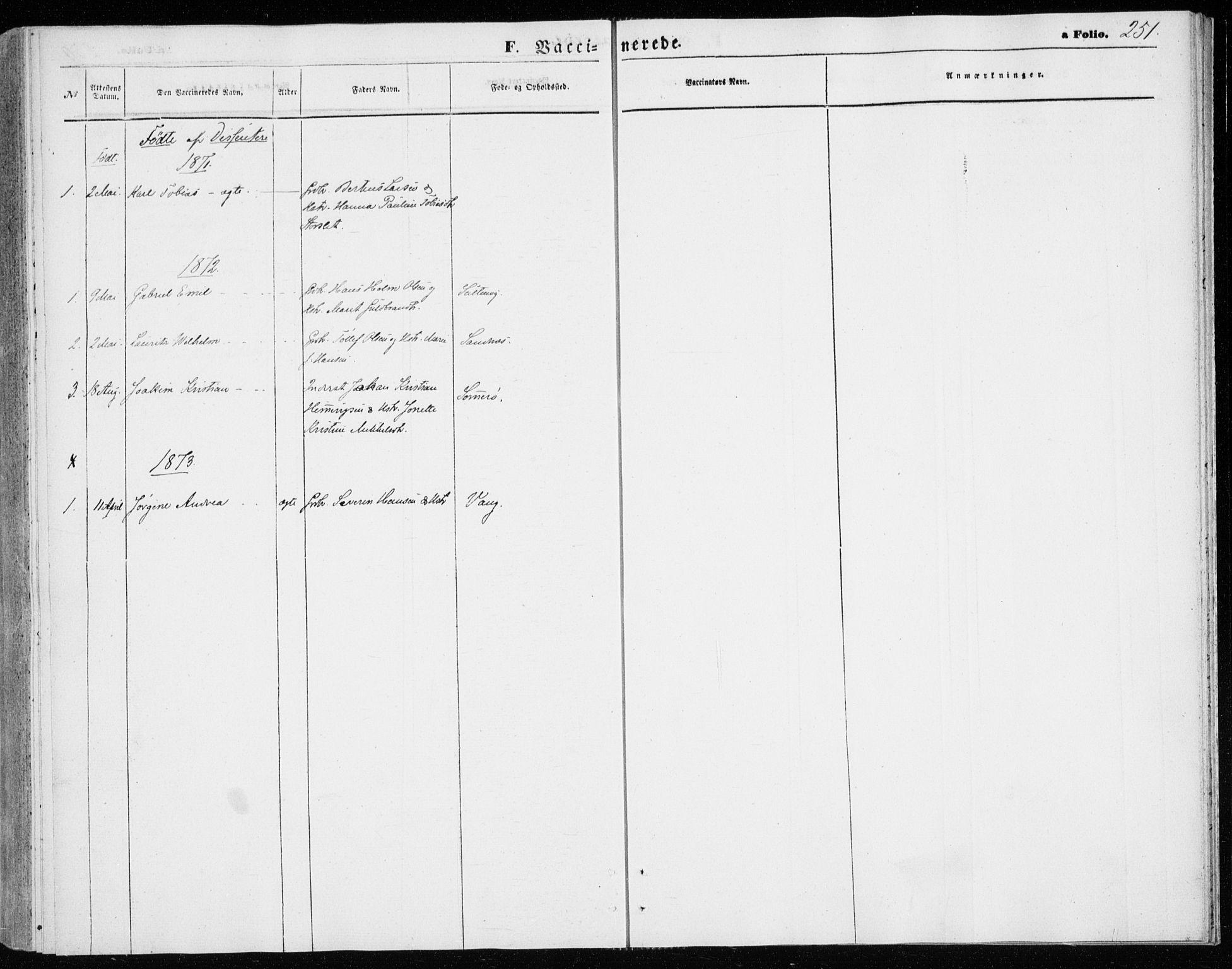 SATØ, Lenvik sokneprestembete, H/Ha: Ministerialbok nr. 9, 1866-1873, s. 251