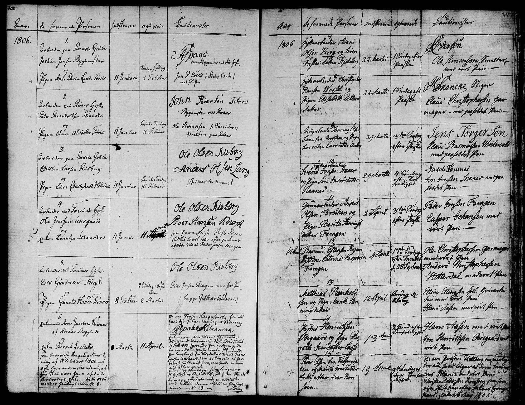 SAT, Ministerialprotokoller, klokkerbøker og fødselsregistre - Sør-Trøndelag, 681/L0928: Ministerialbok nr. 681A06, 1806-1816, s. 300-301